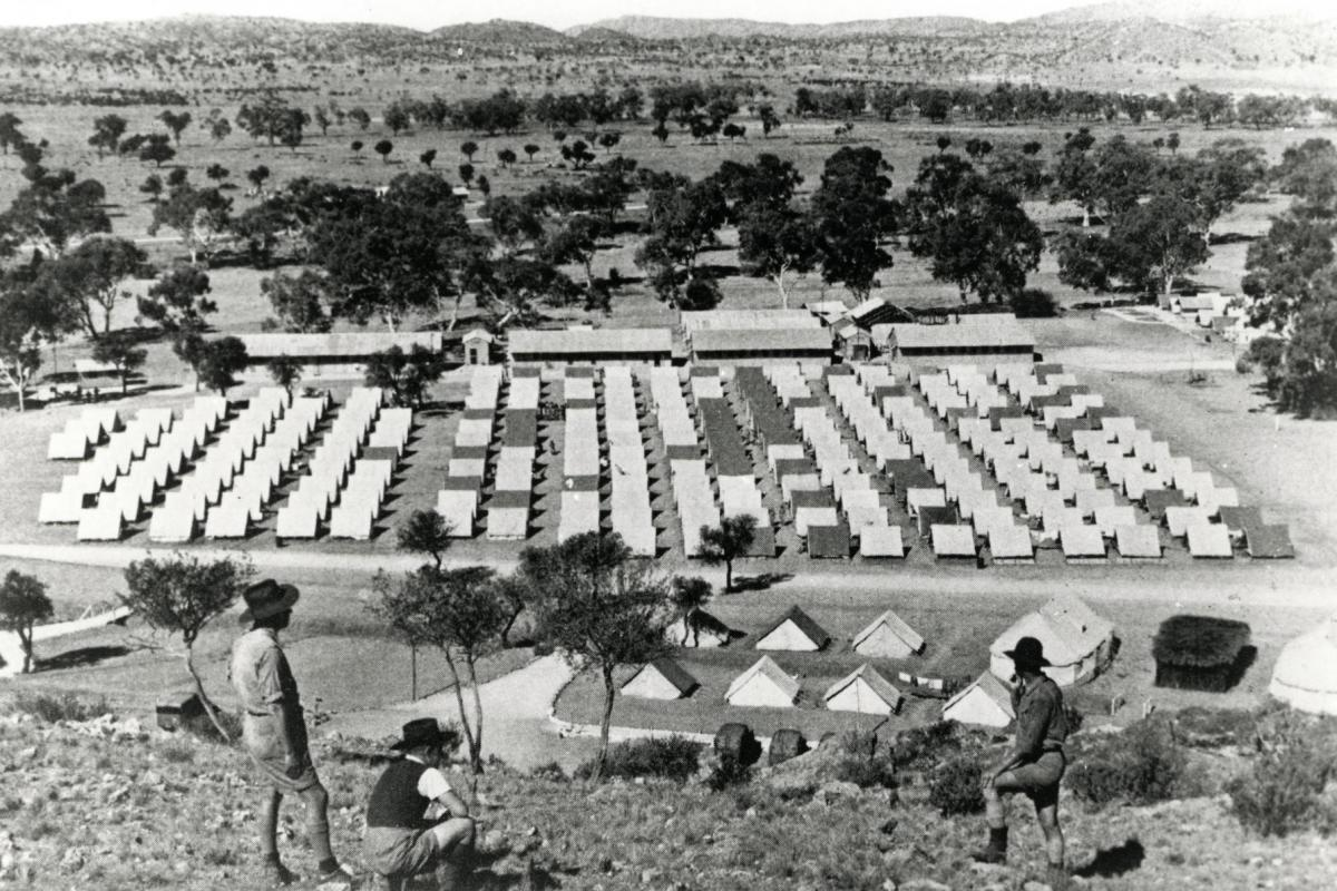 Army tents in Alice Springs, from Anzac Hill.