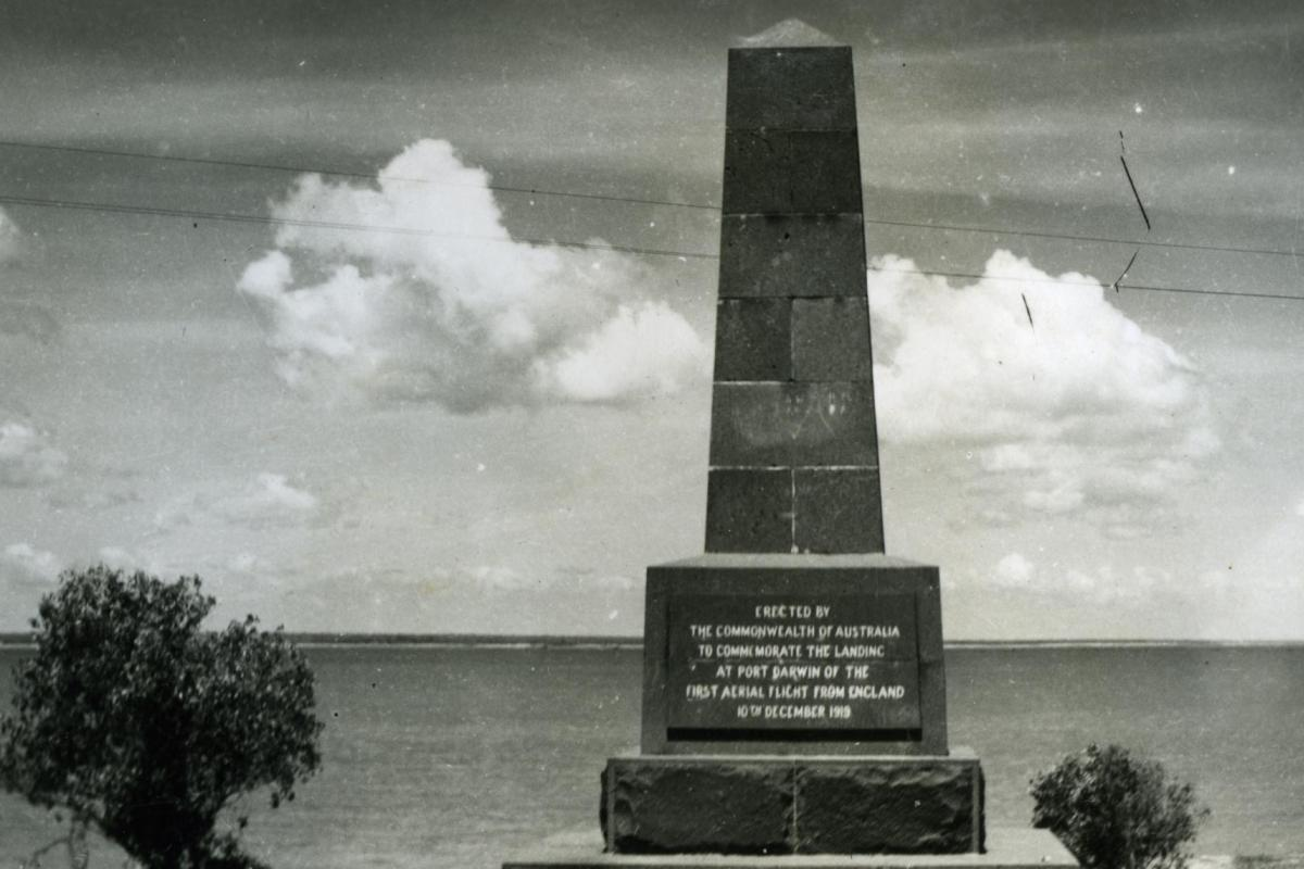 The Ross Smith Memorial in Darwin which commemorates the landing of the first flight from England.