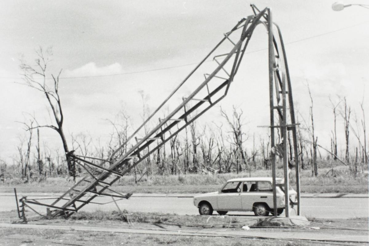 Twisted electricity pole, bent and twisted by Cyclone Tracy.