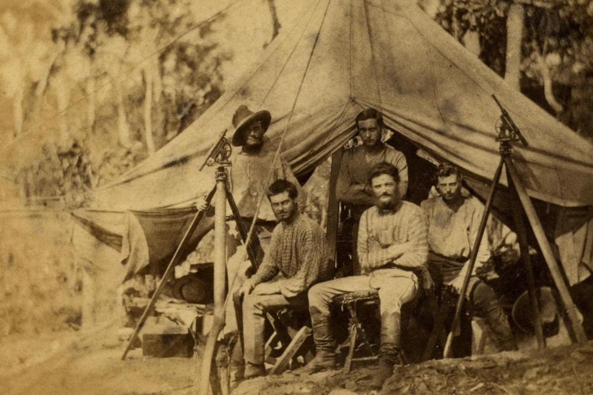 Knuckey's camp, 1869 JWO Bennett is sitting on the left.