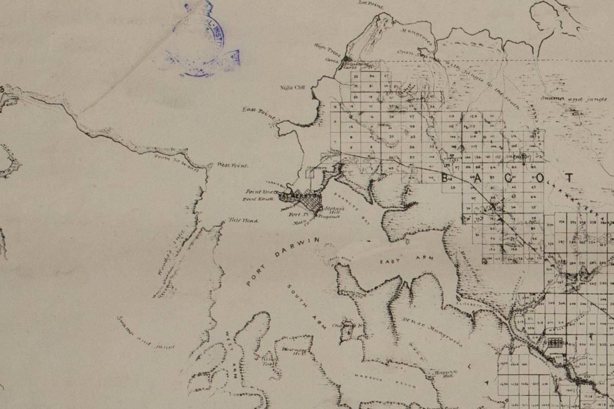 GW Goyder's General Plan showing natural features of the country, towns, reserves, roads & sectional lands at, and in the vicinity of Port Darwin, Northern Territory of South Australia