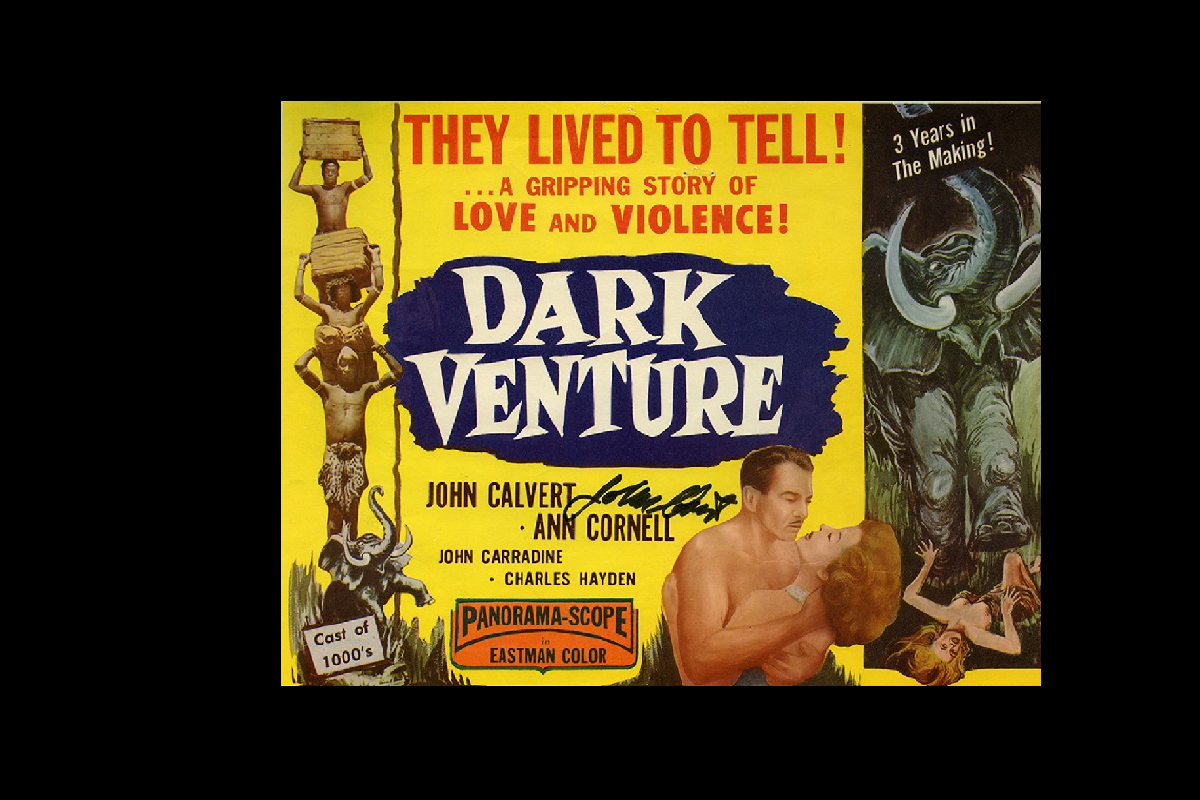 Movie poster for 'Dark Venture' depicting African porters, a man and a woman embracing, and a rampaging bull elephant.