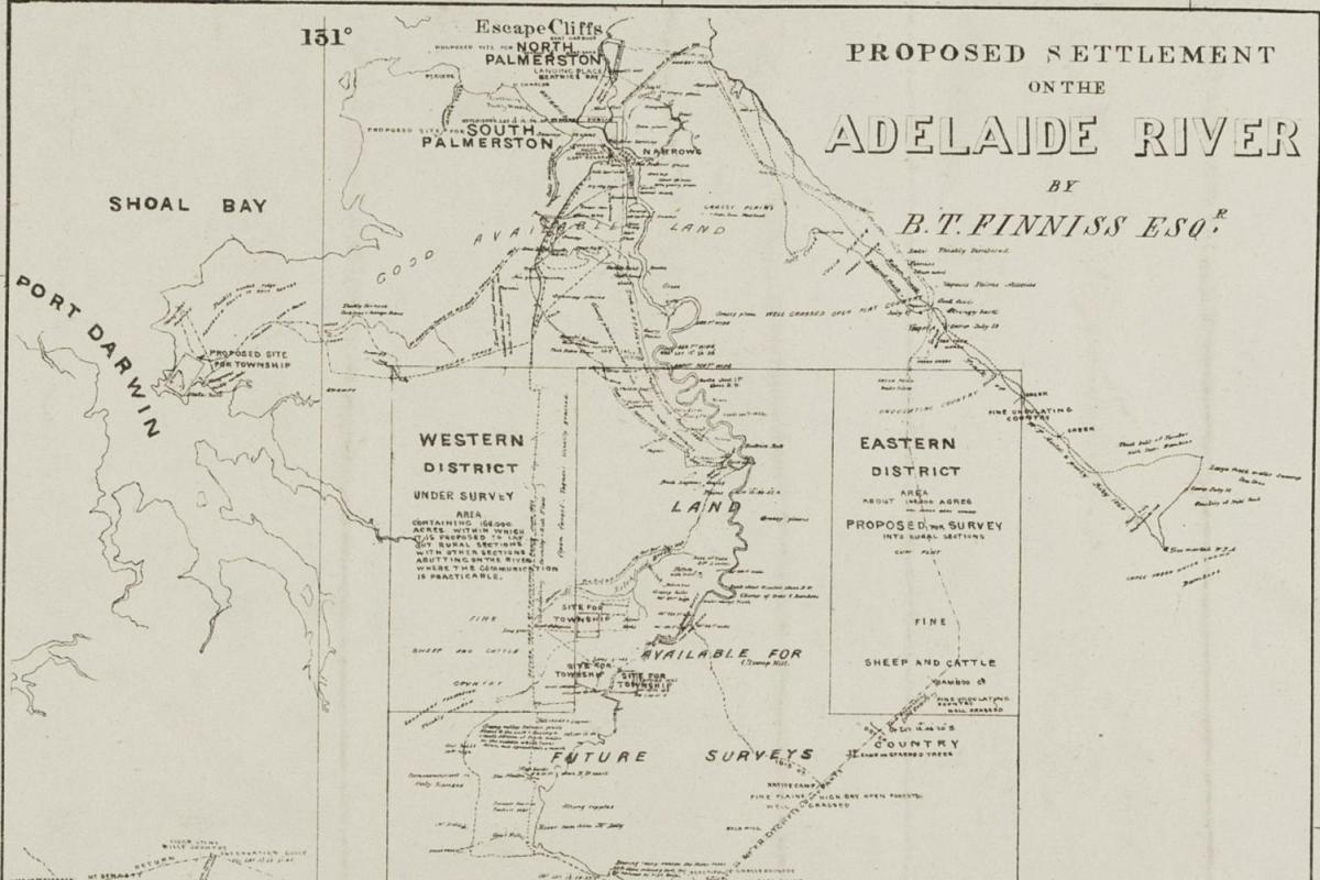 Cropped black and white map showing surveys in the Northern Territory, 1868