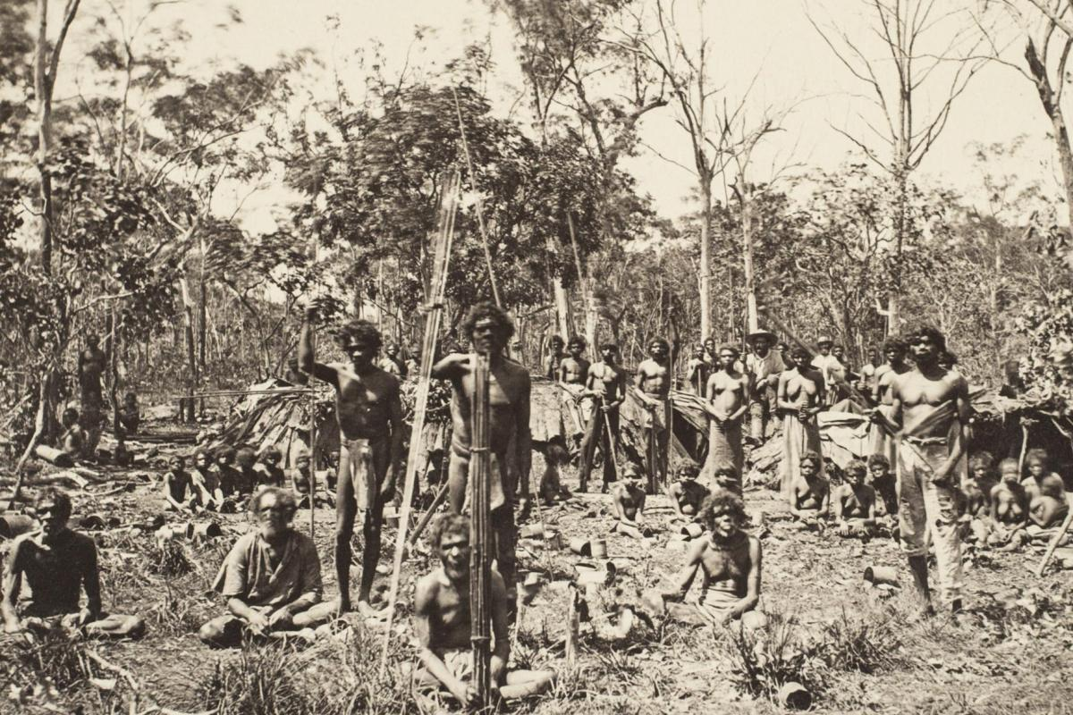 Aboriginal Camp, Port Darwin showing a group of aboriginal people