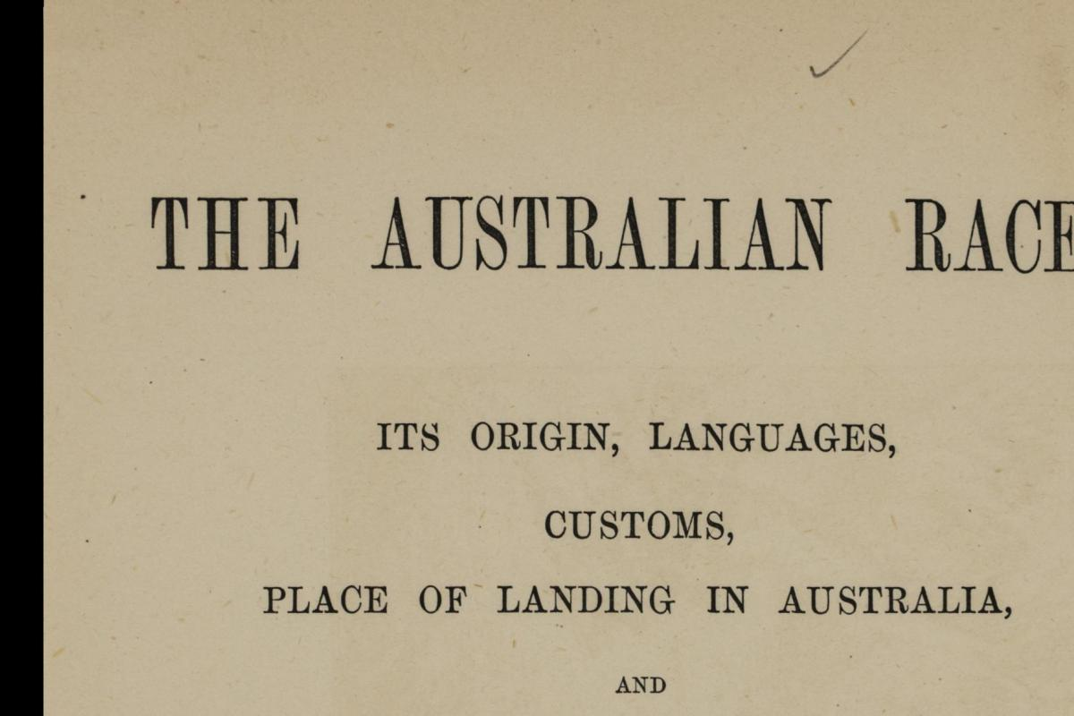 Title page for book The Australian Race published 1886.