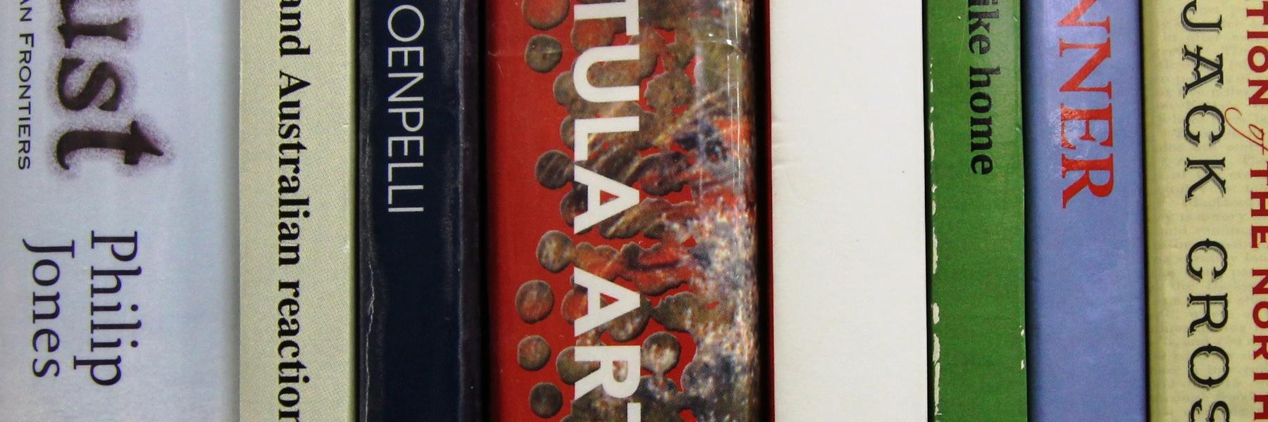 Photo of the book spines of past winners of the Chiref Minister's Northern Territory History Book Award