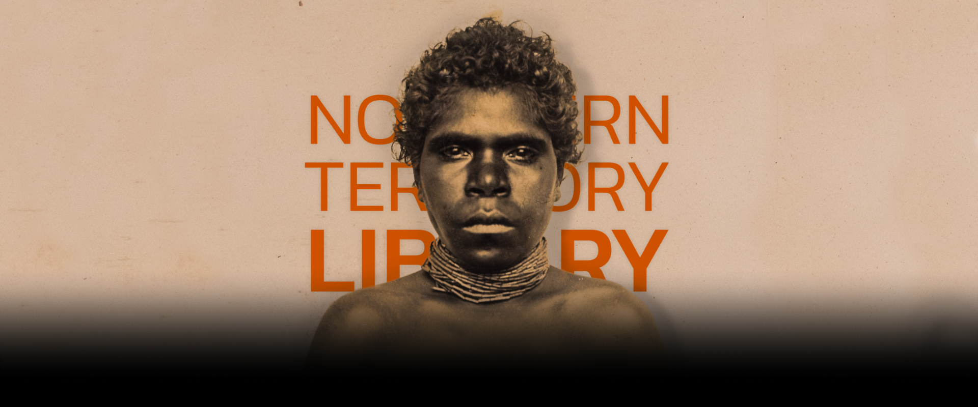Portrait of unknown Larrakia woman Northern Territory Library in text in background