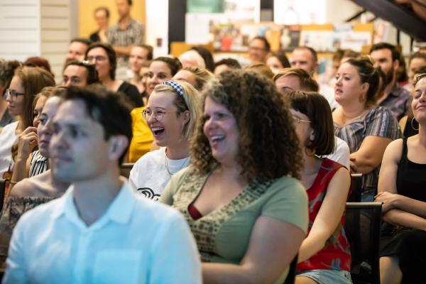 Crowd bursts into laughter during SPUN storytelling
