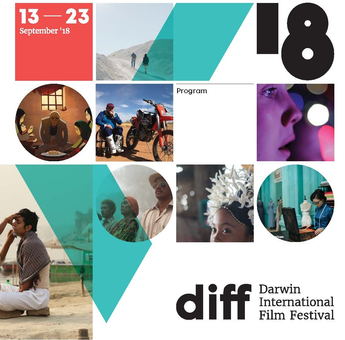 Front cover of the DIFF program. Grid pattern with images displaying different stills from films