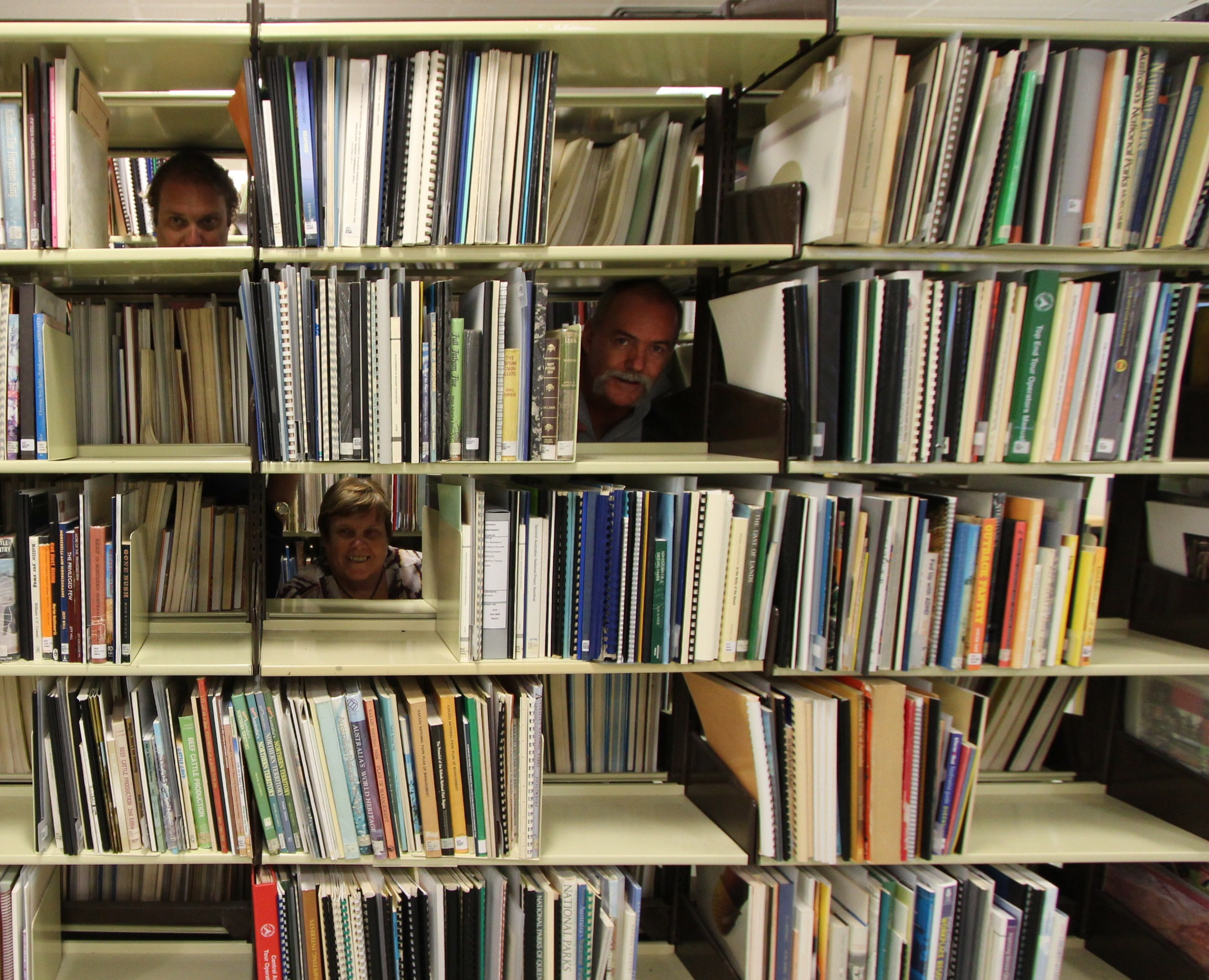 Librarians in the shelves