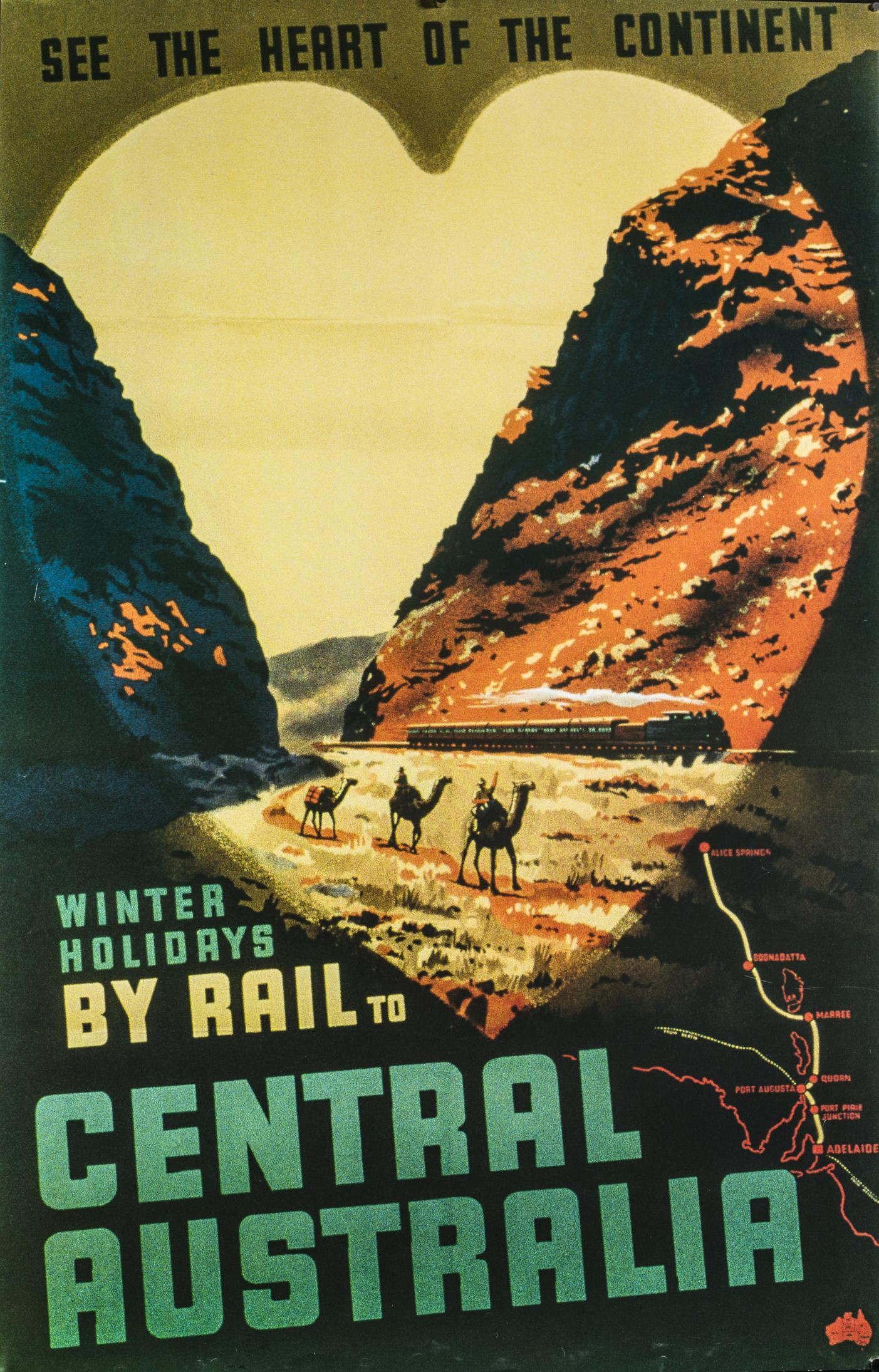 Tourism poster from 1959 promoting travel in Central Australian. Camels in the foreground and a train in the background.