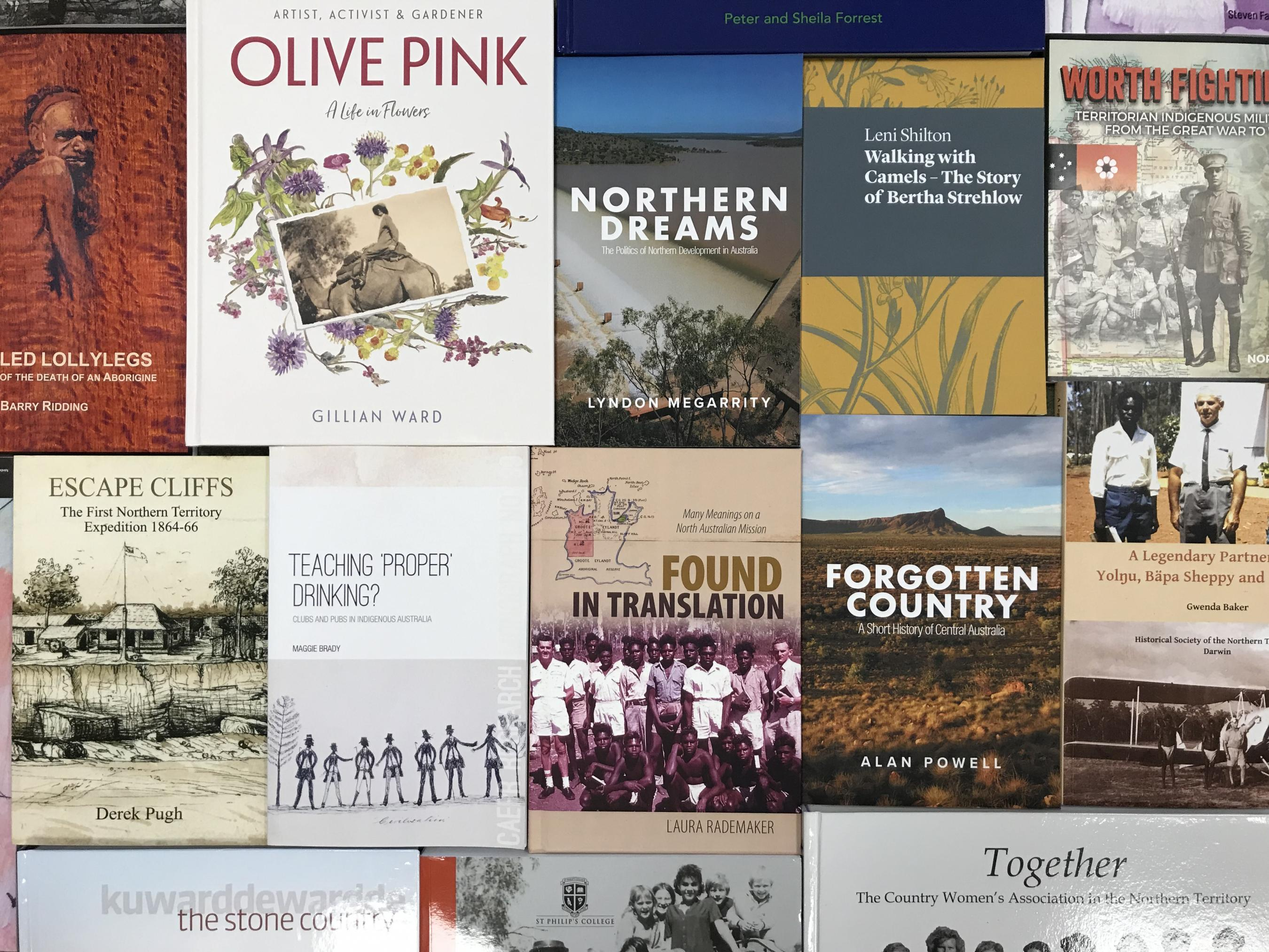 Collage of book covers of some of the entered works for the Chief Minister's Northern Territory History Book Award