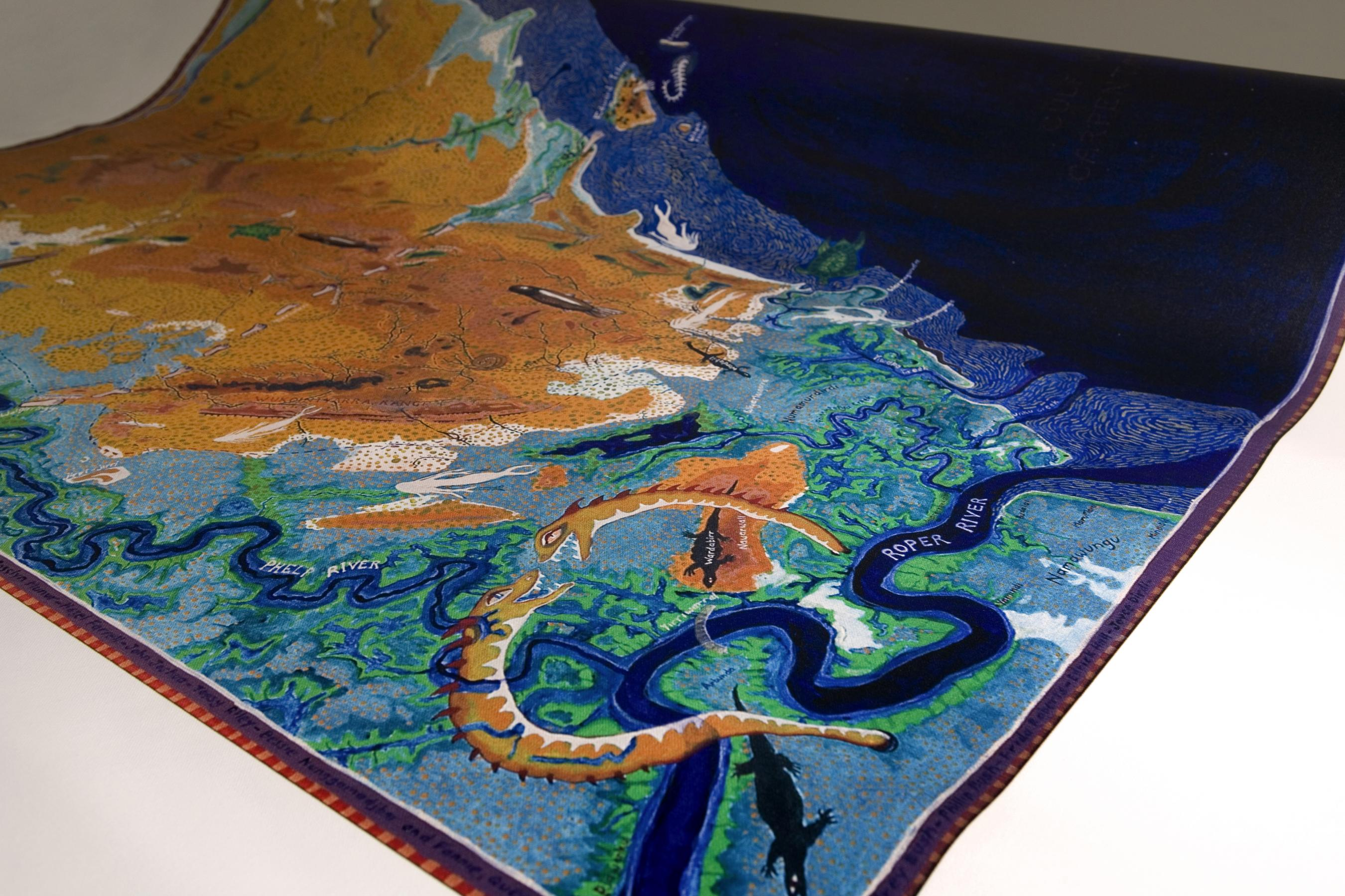 Photo of a digitally painted pictorial map of the Gulf of Carpentaria region