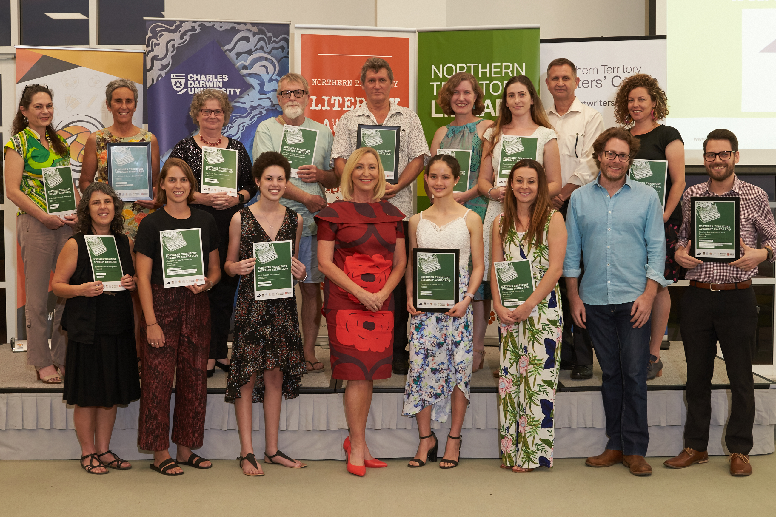 Finalists holding up certificates for the 2019 NT literary awards