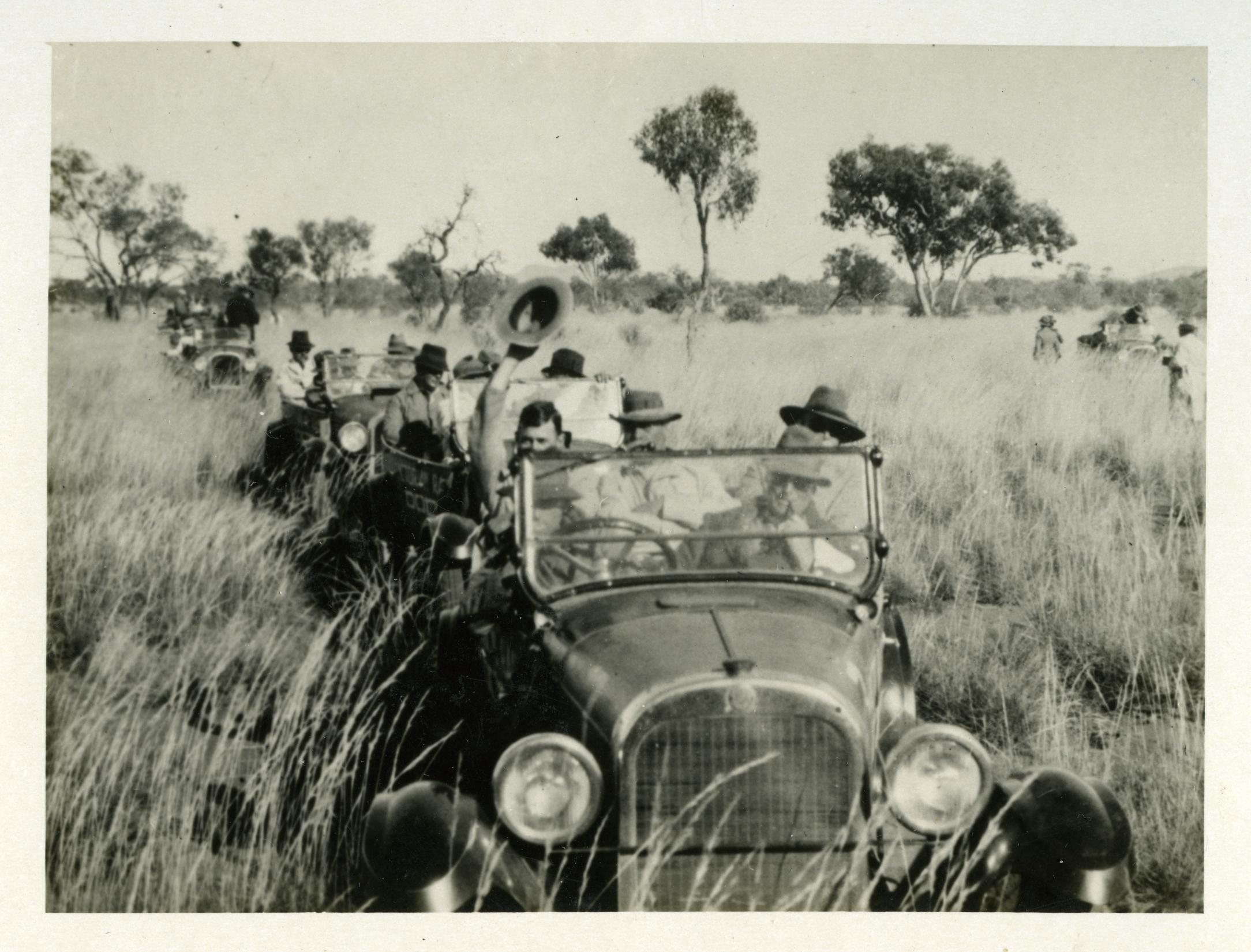 Motorcade of old cars traveling through tall grass in outback Northern Territory