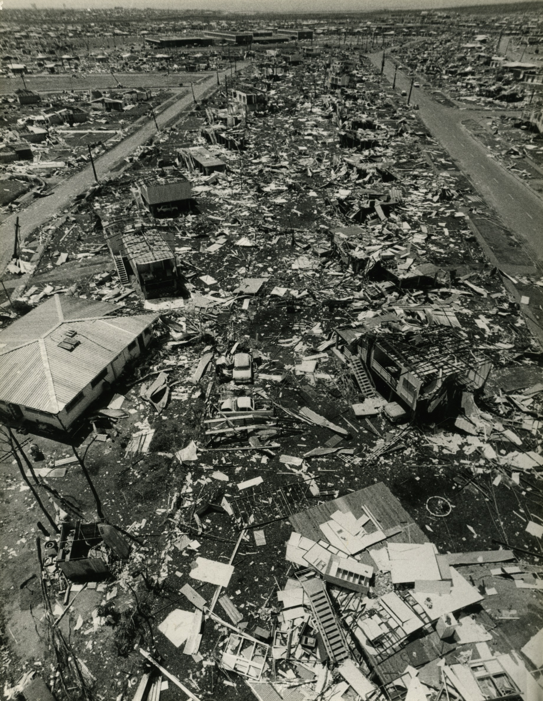 Aerial view of a devastated Darwin