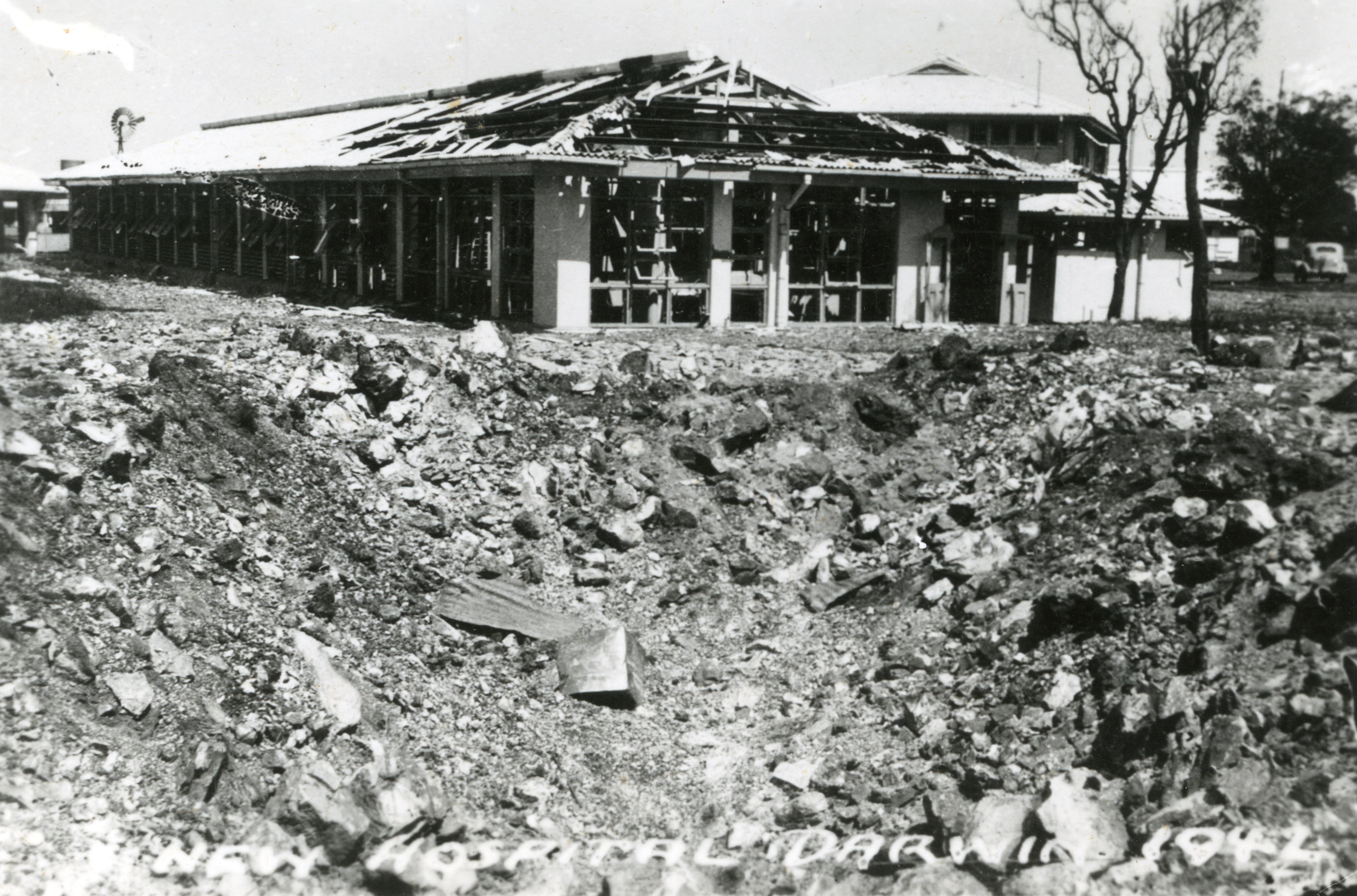 New Hospital Darwin. Bomb damage and crater.