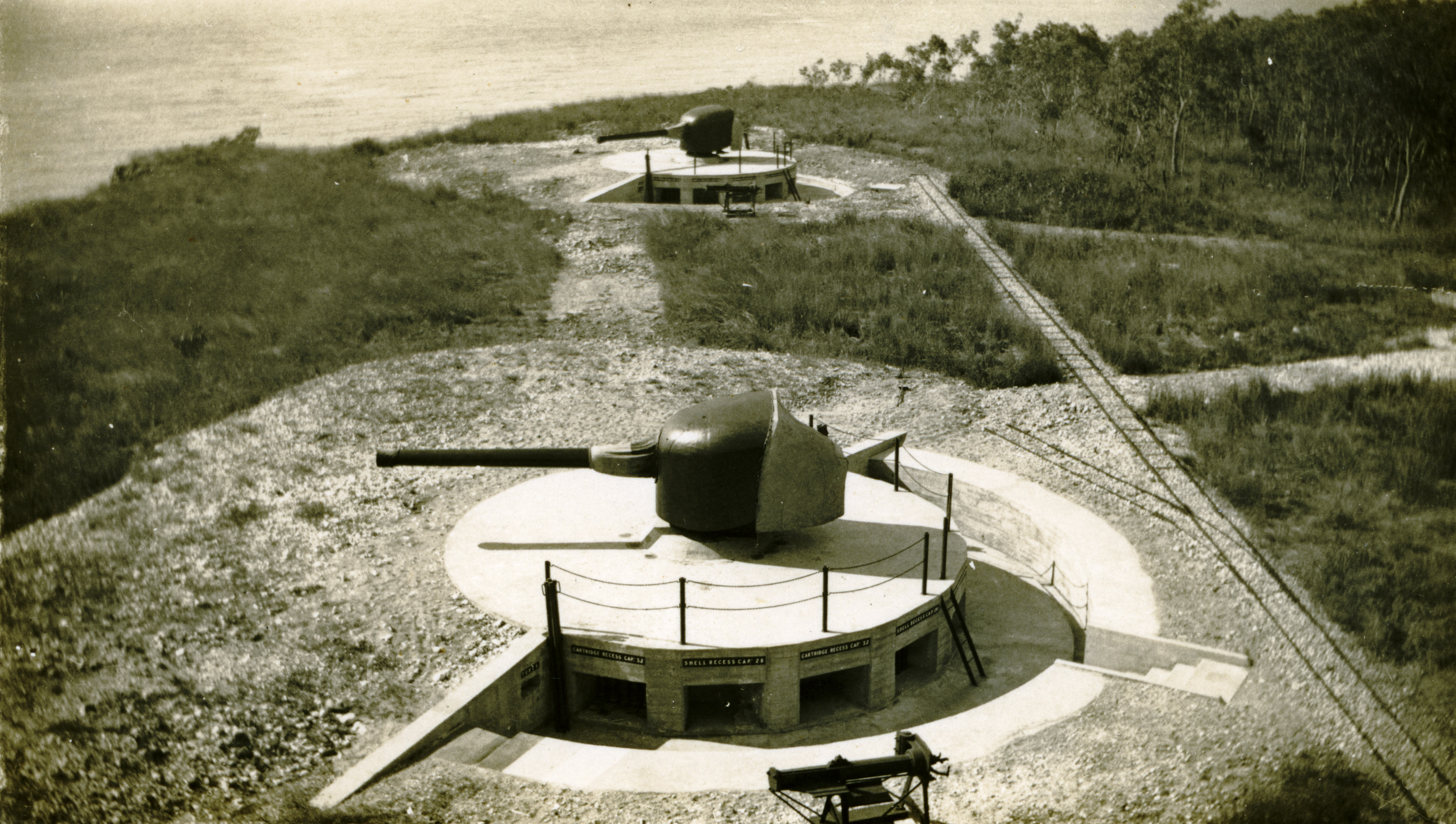 Two 6-inch naval guns emplaced at East Point in 1936 to protect the harbour entrance.