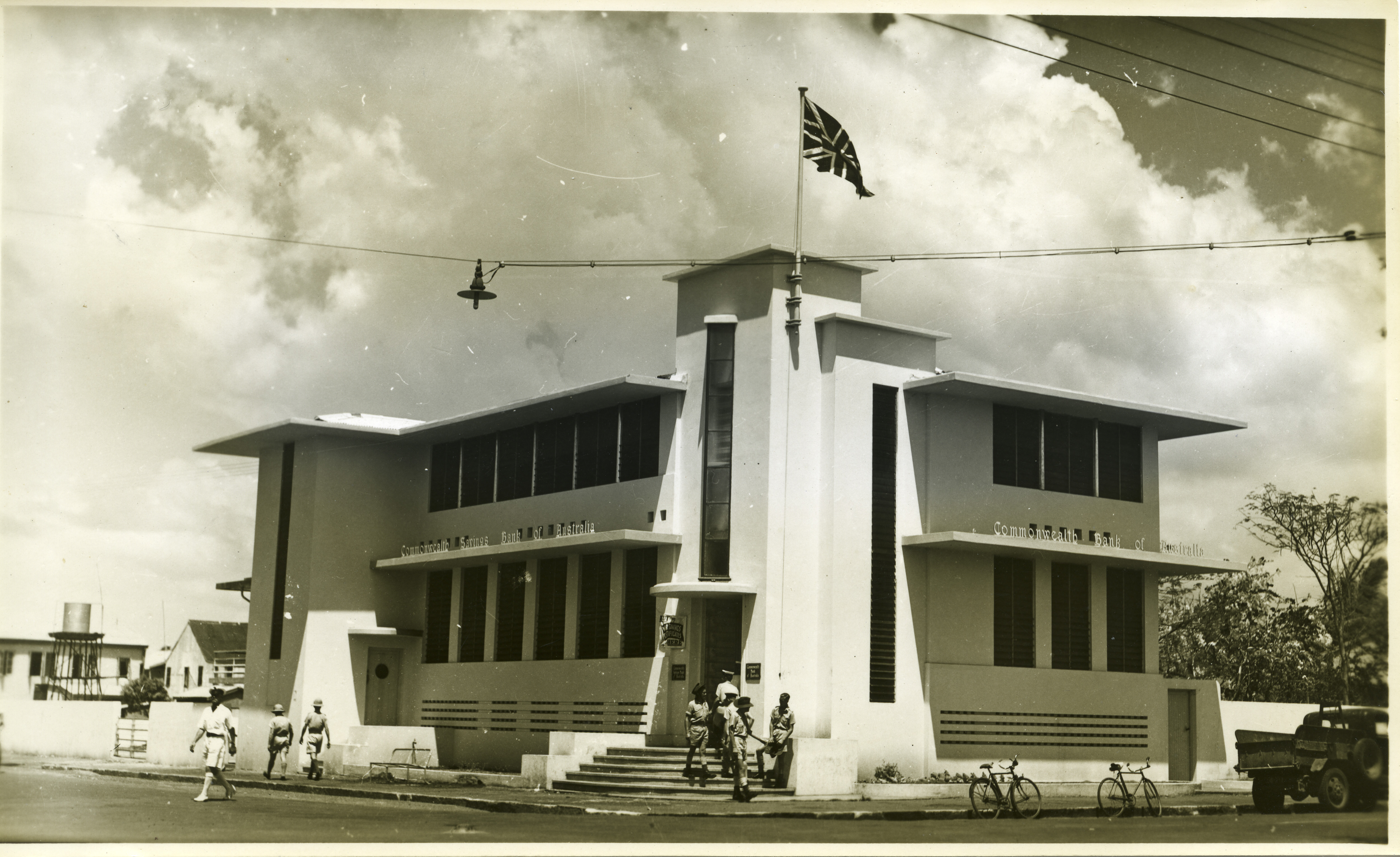 Image of new art deco Commonwealth Bank, corner Smith and Bennett Streets, Darwin.