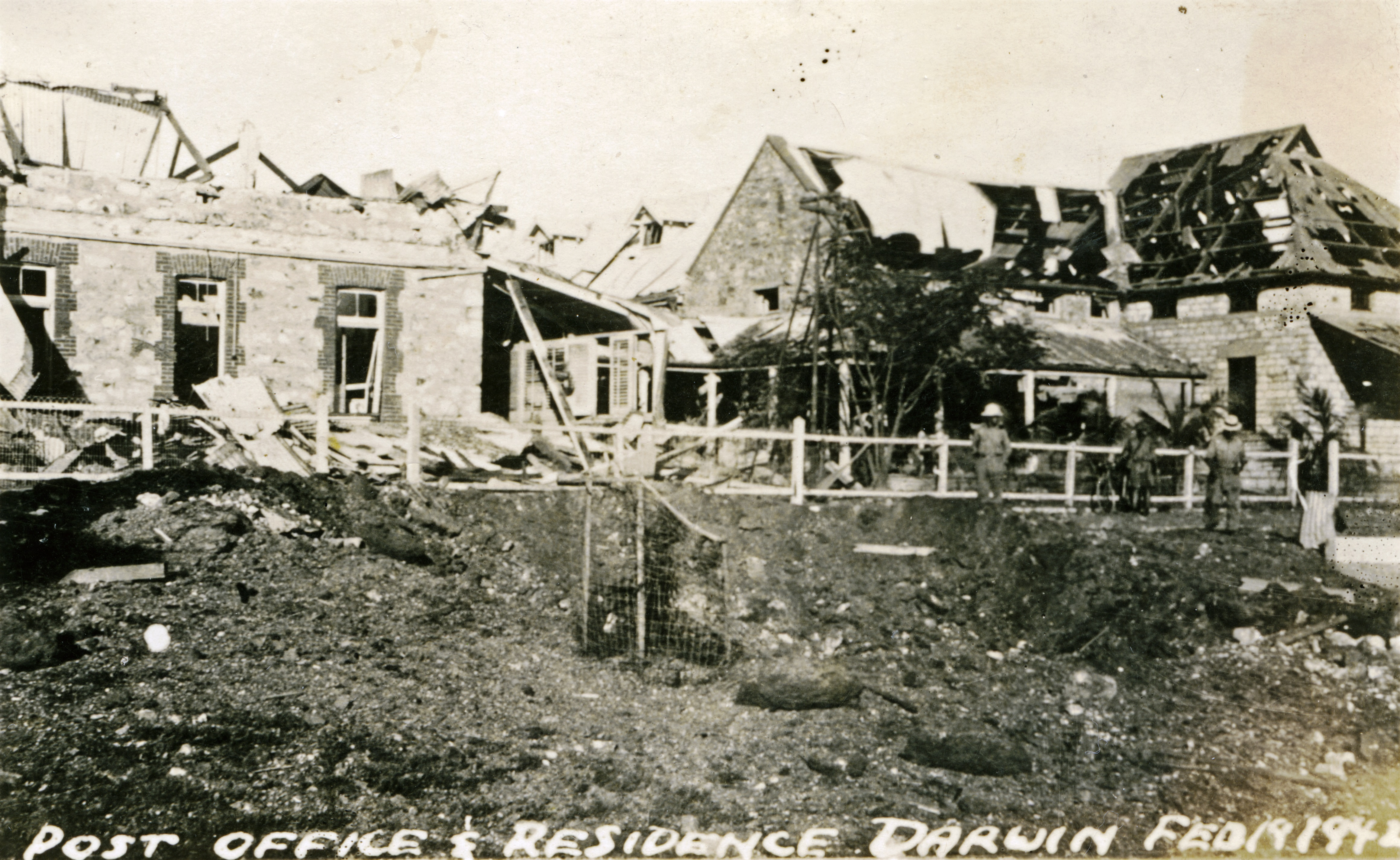 Darwin Post Office and Residence after bombing showing damaged roof.