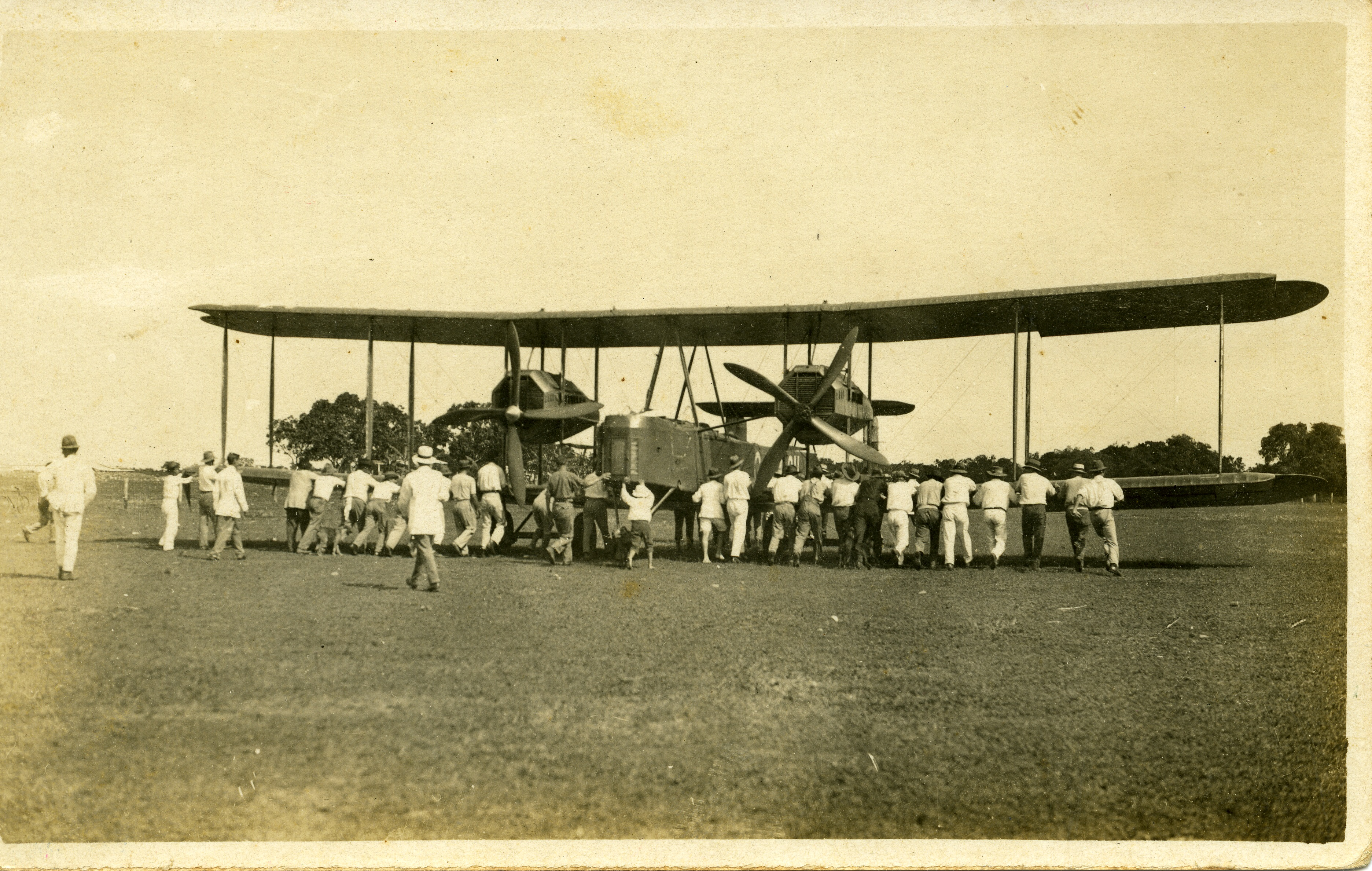 Ross and Keith Smith's aeroplane in Darwin in 1919