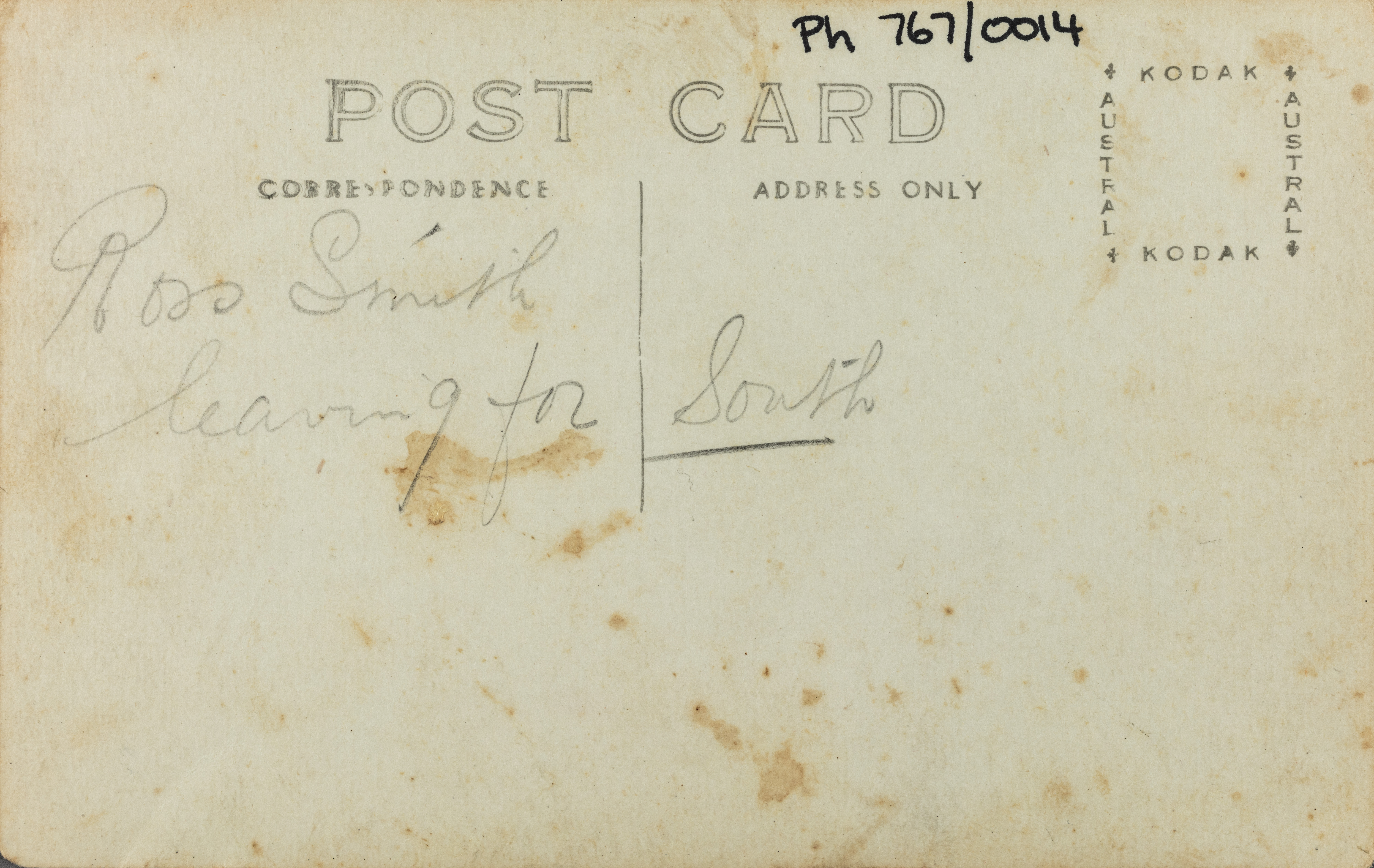 Text on reverse: Ross Smith leaving for South