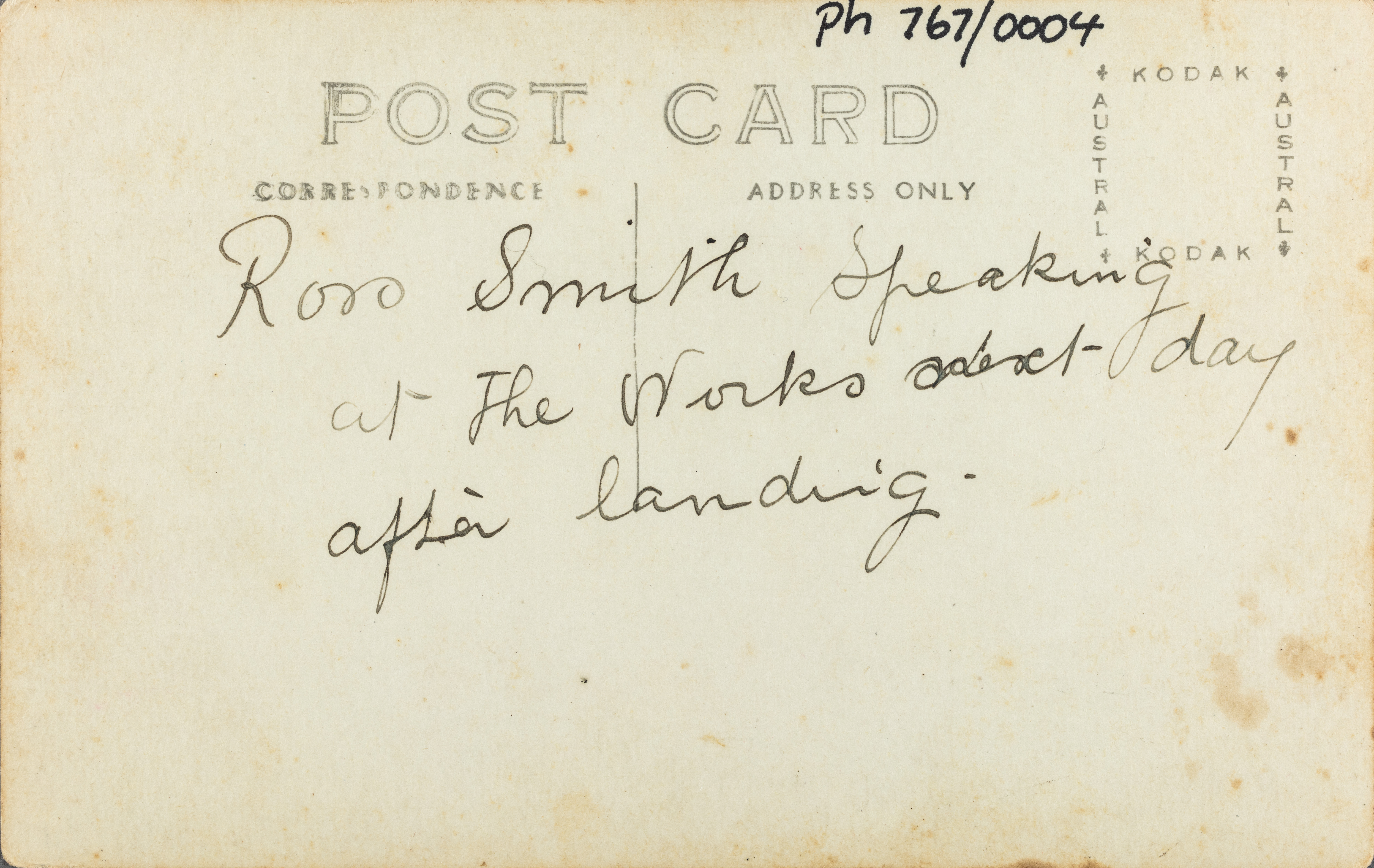 Text on reverse: Ross Smith speaking at the Works next day after landing.
