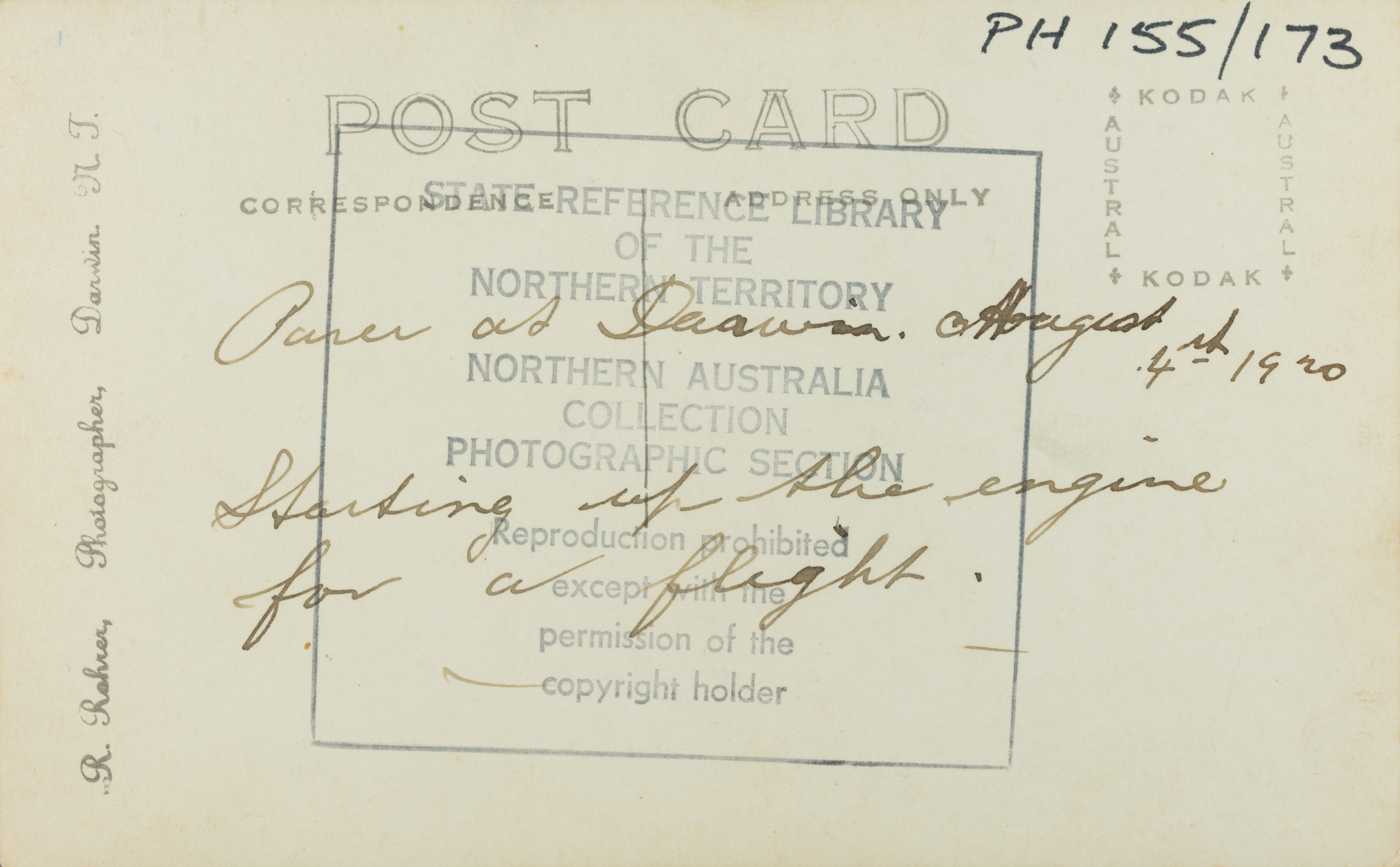 Text on reverse: Parer at Darwin August 4th 1920. Starting up the engines for a flight.