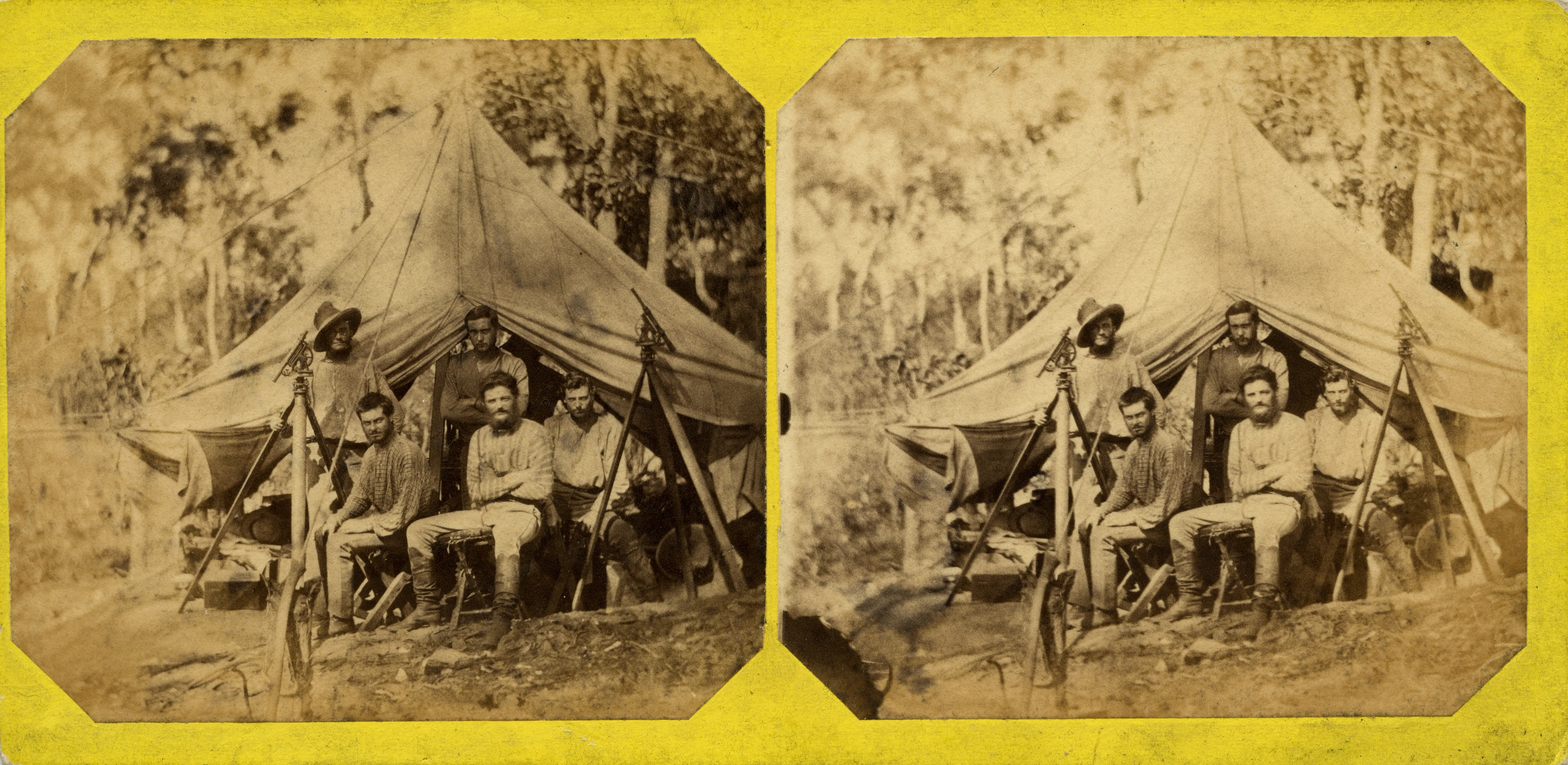 Stereoscopic image of Knuckey's camp, 1869