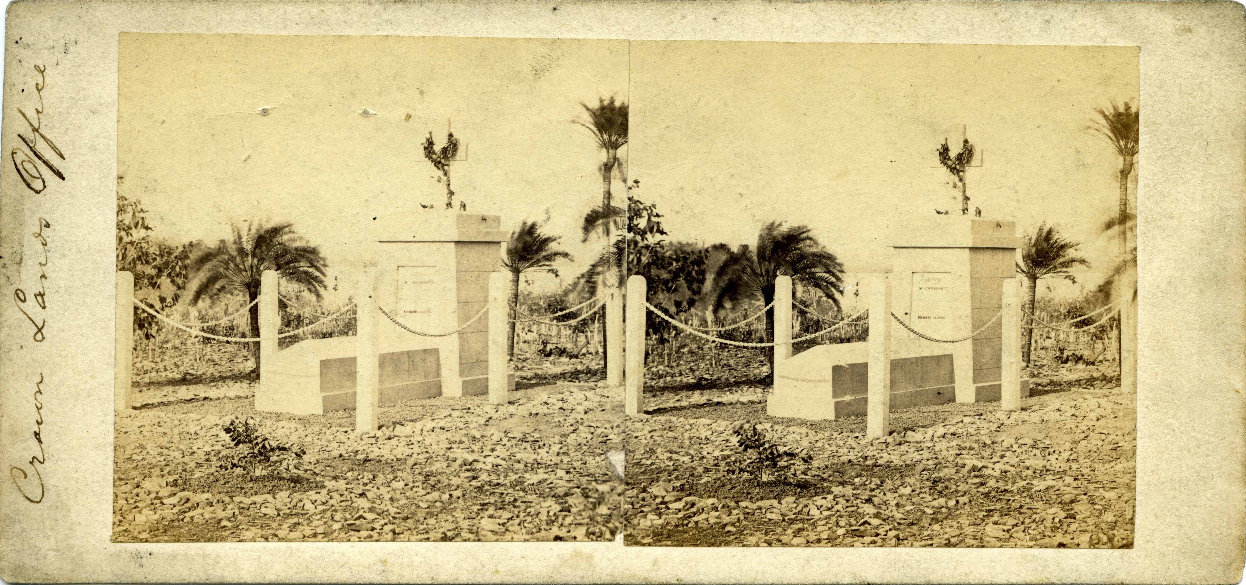 Stereoscopic image of Graves of JWO Bennett and Richard Hazard, Fort Hill, 1869