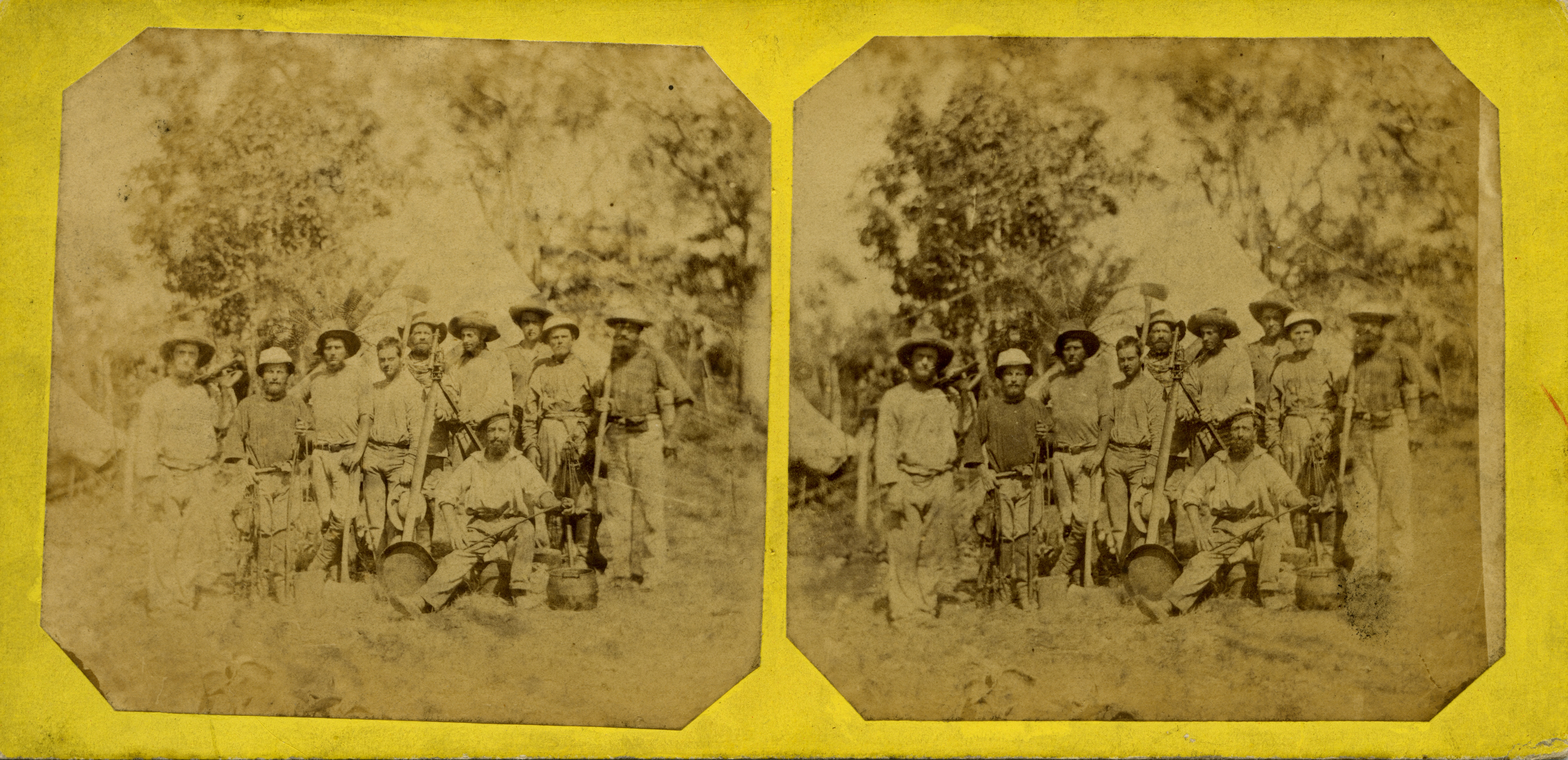 Stereoscopic image of Members of the Northern Territory Surveying Expedition, 1869.