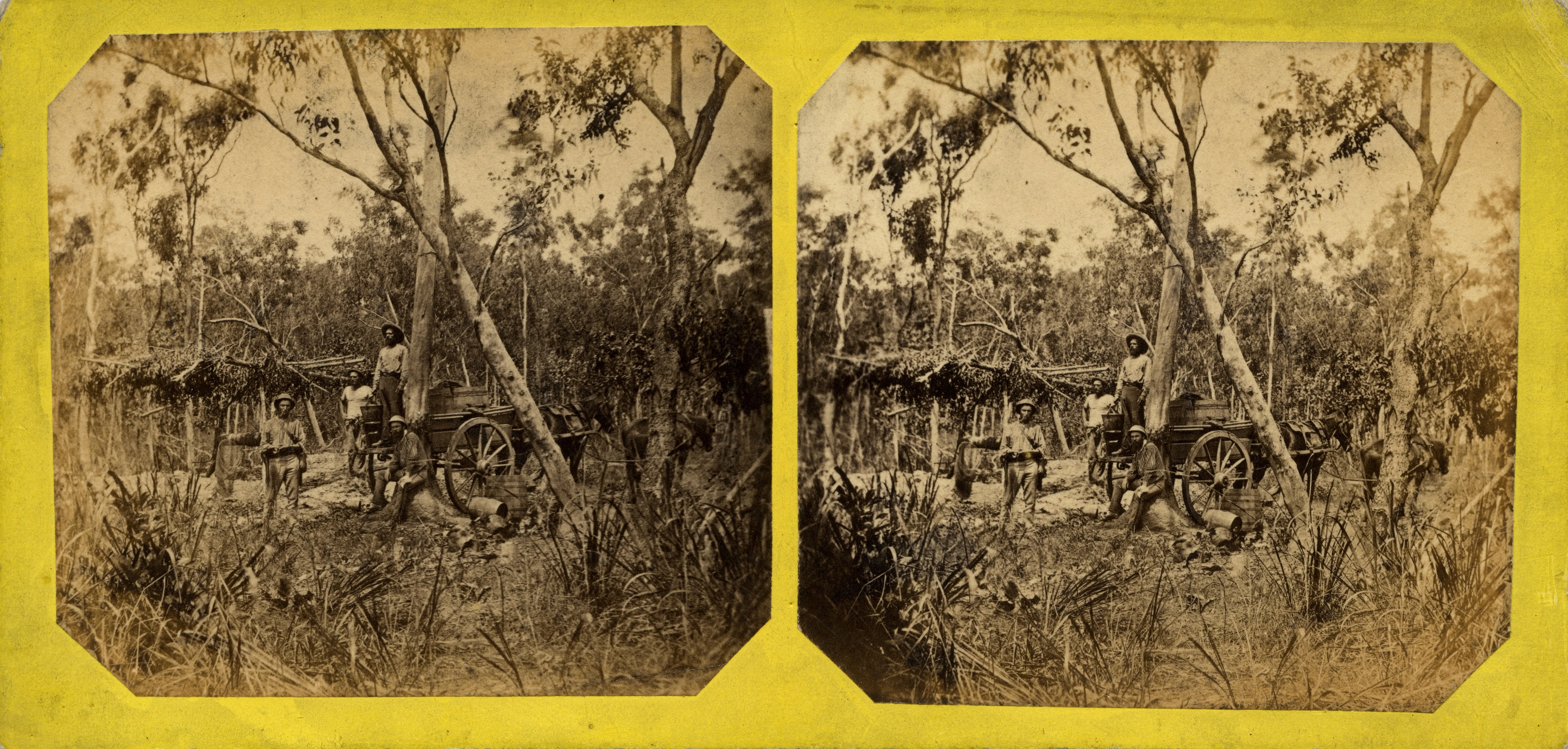 Stereoscopic image of collecting water from the Government well, Doctor's Gully, 1869