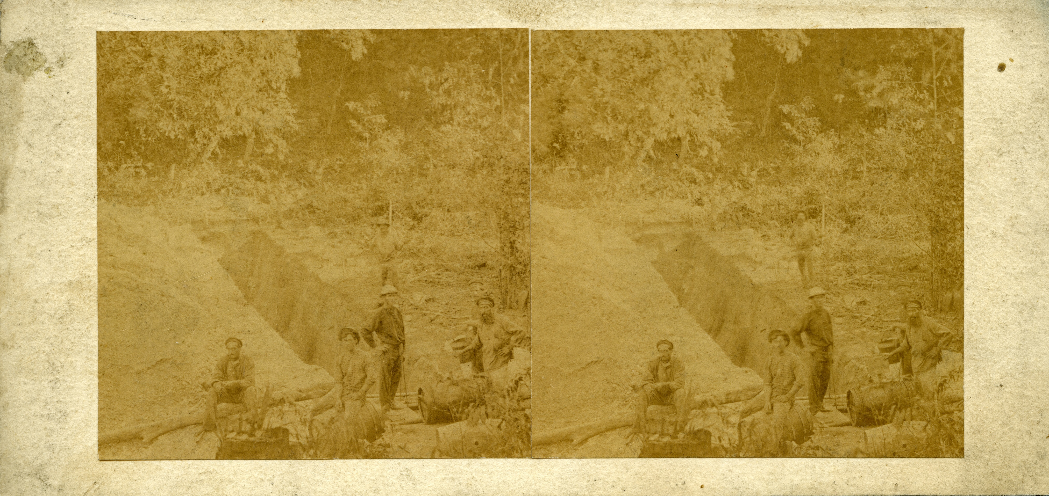 Stereoscopic image of Doctor's Gully cutting for water, 1869