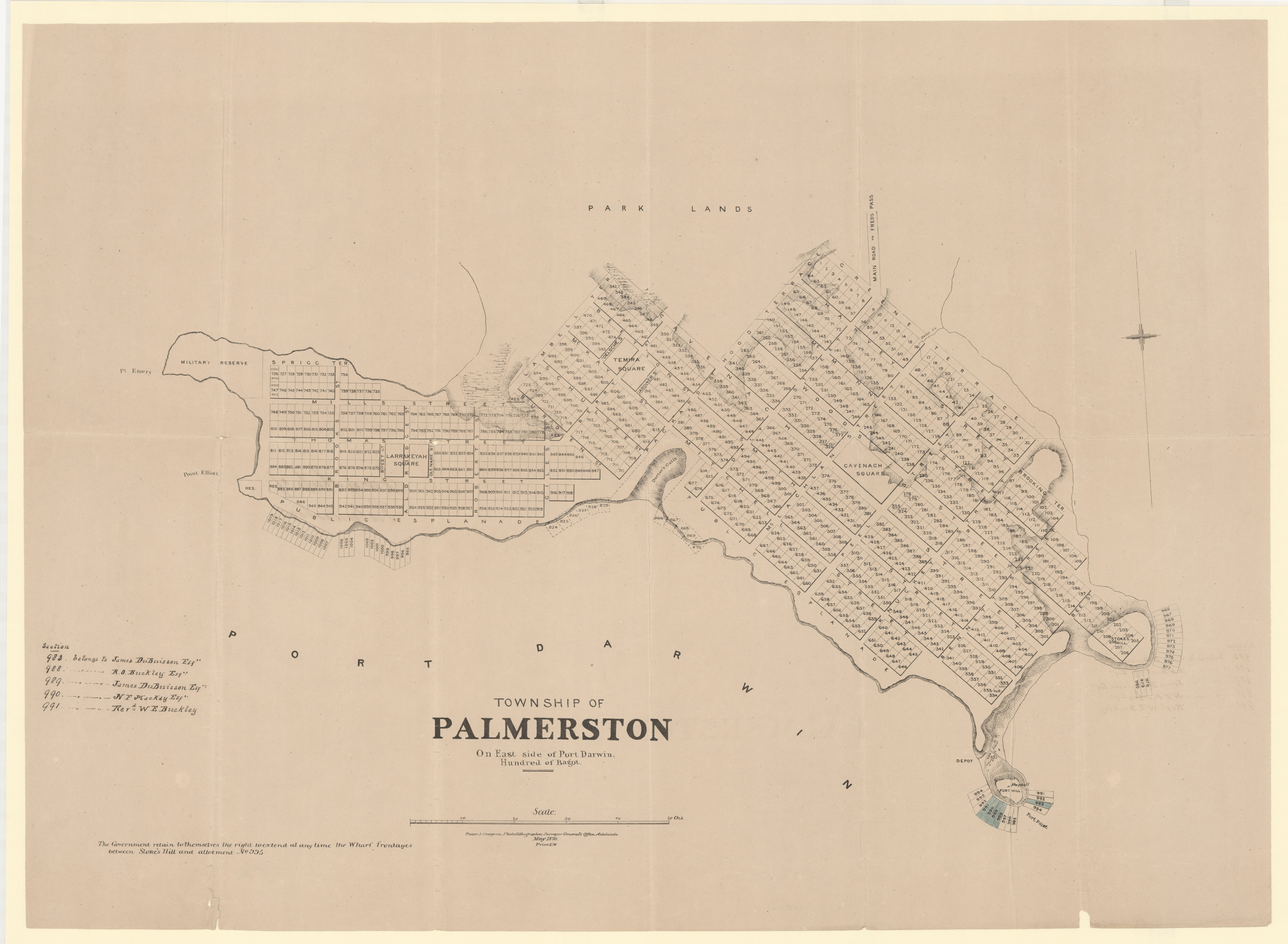 Plan of the Township of Palmerston on east side of Port Darwin, Hundred of Bagot. 1870