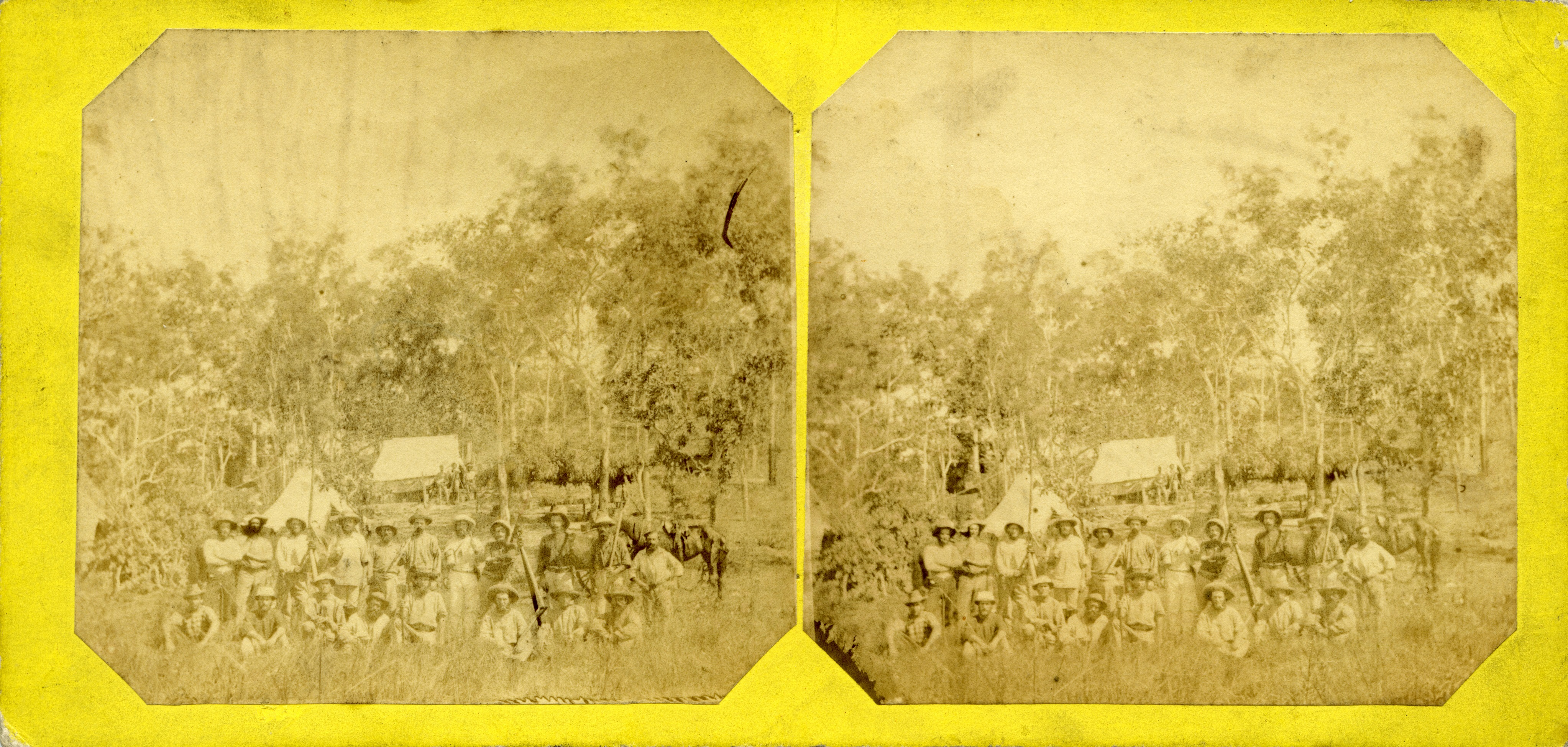 Stereoscopic image of Northern Territory Survey Expedition, 1869