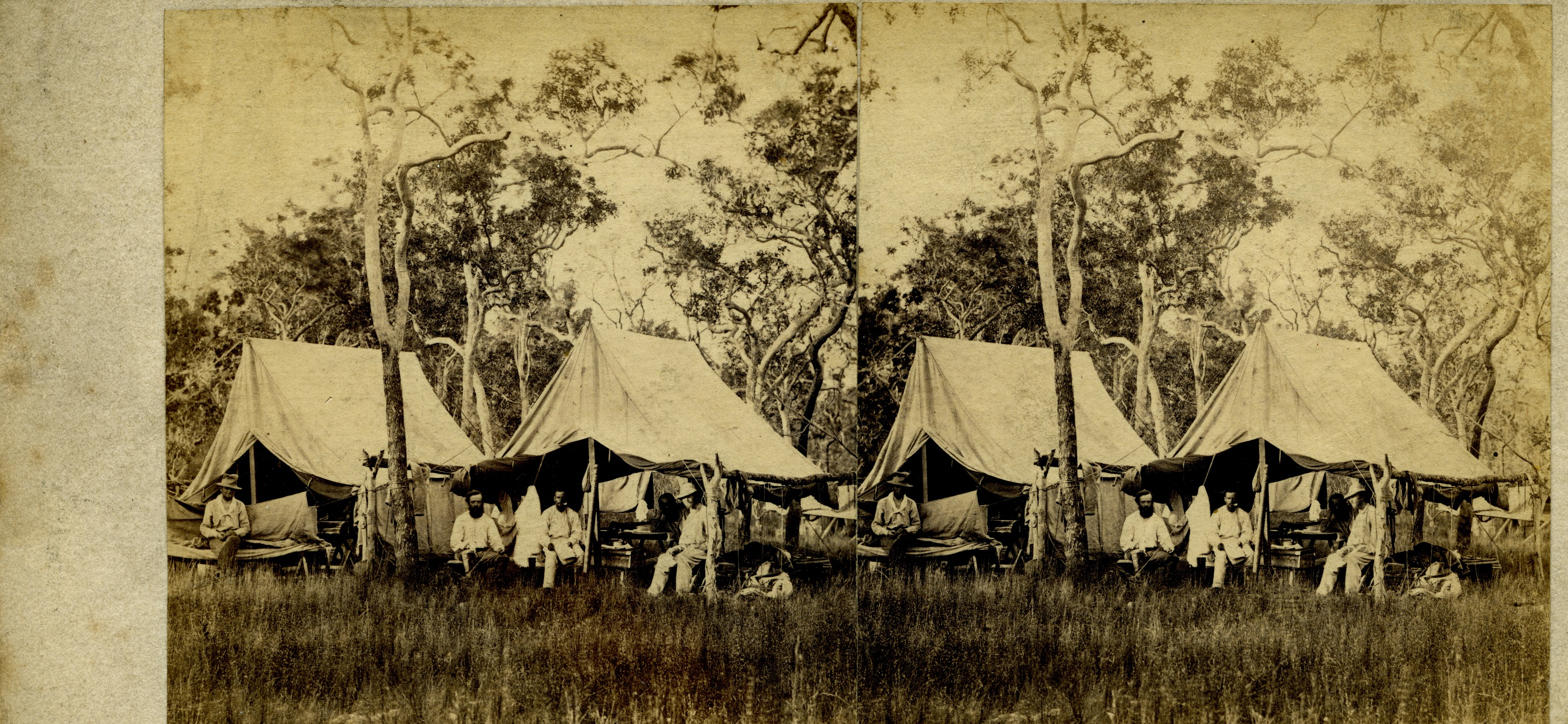 Stereoscopic image of Mr. McLachlan's camp at the three wells, 1869