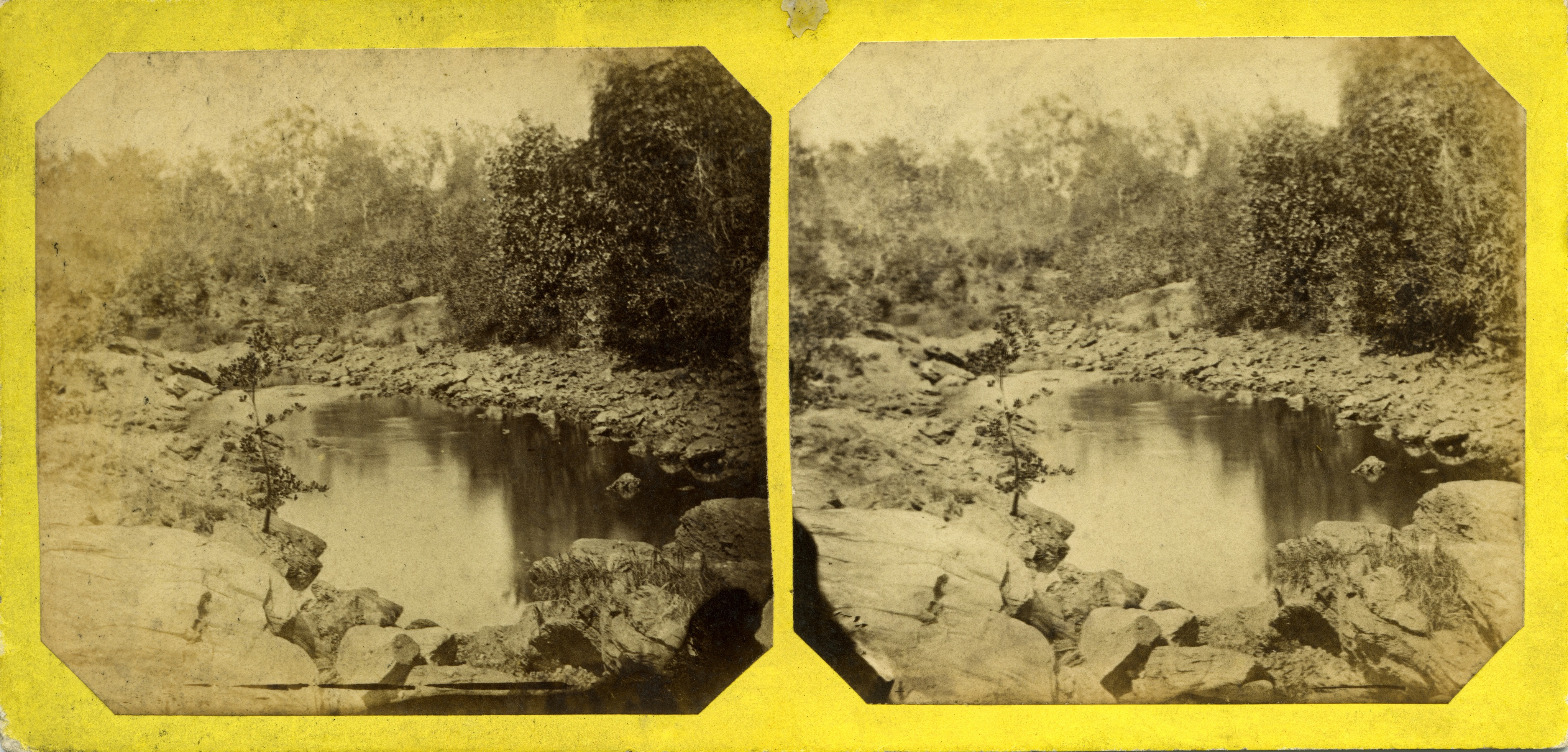 Stereoscopic image of Tumbling Waters, 1869