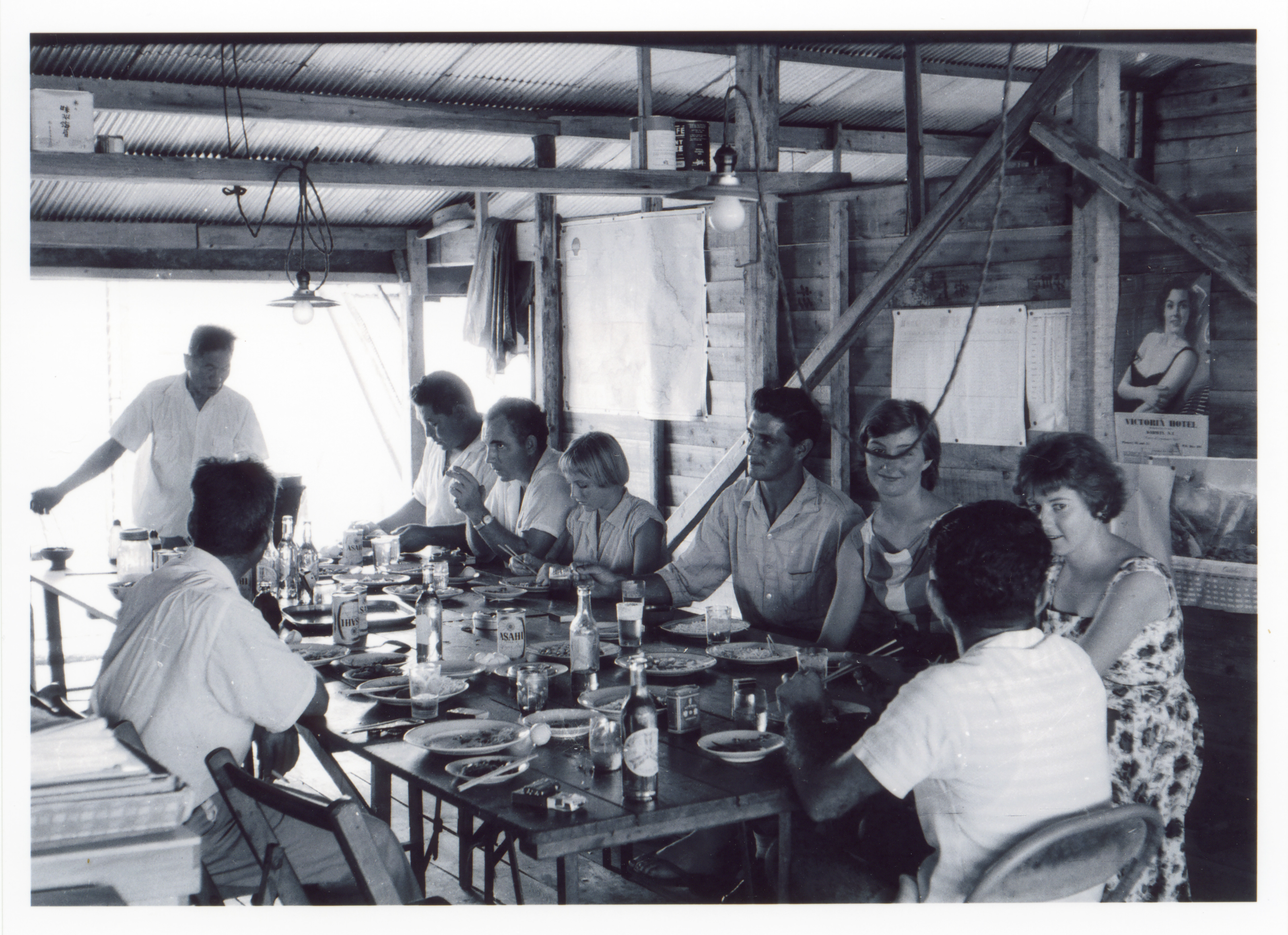 Darwin residents dining with Fujita Salvage Company staff on board the MV British Motorist in 1961.