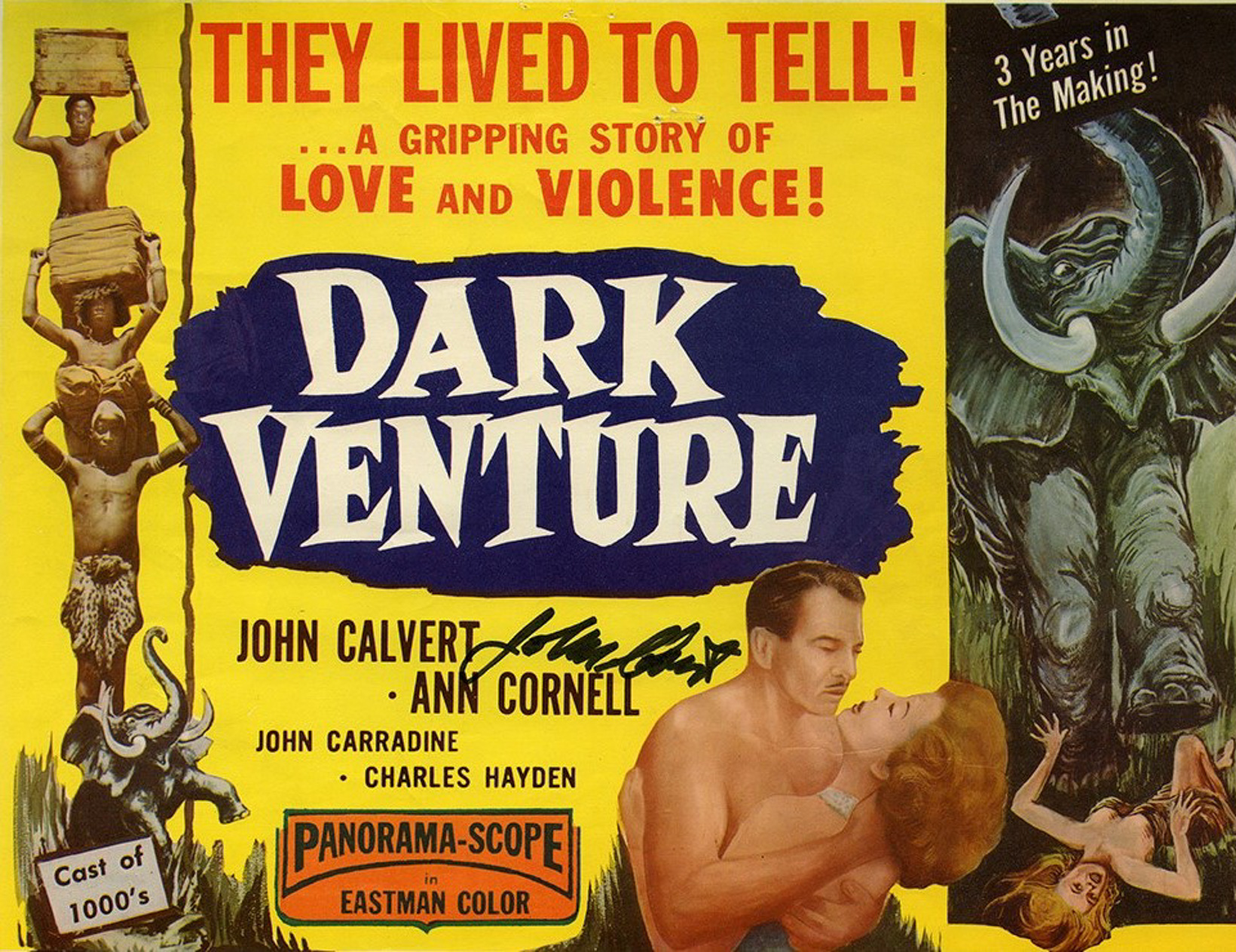 Movie poster for 'Dark Venture' depicting African porters, a man and woman embracing, and a rampaging bull elephant.
