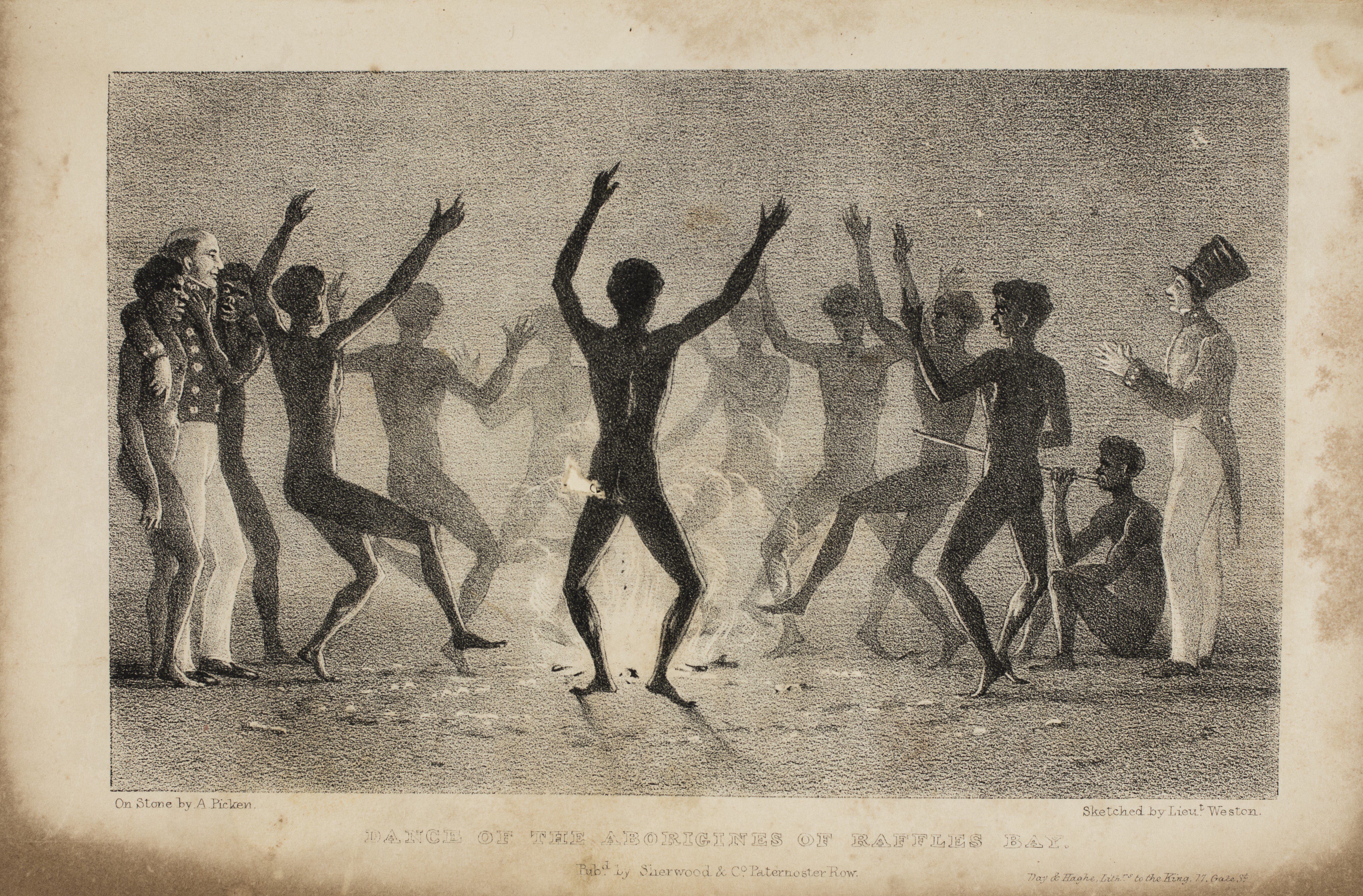 Depicts a group of Aboriginal men dancing around a fire and carousing with British soldiers. At right is a seated man playing a bamboo didgeridoo.