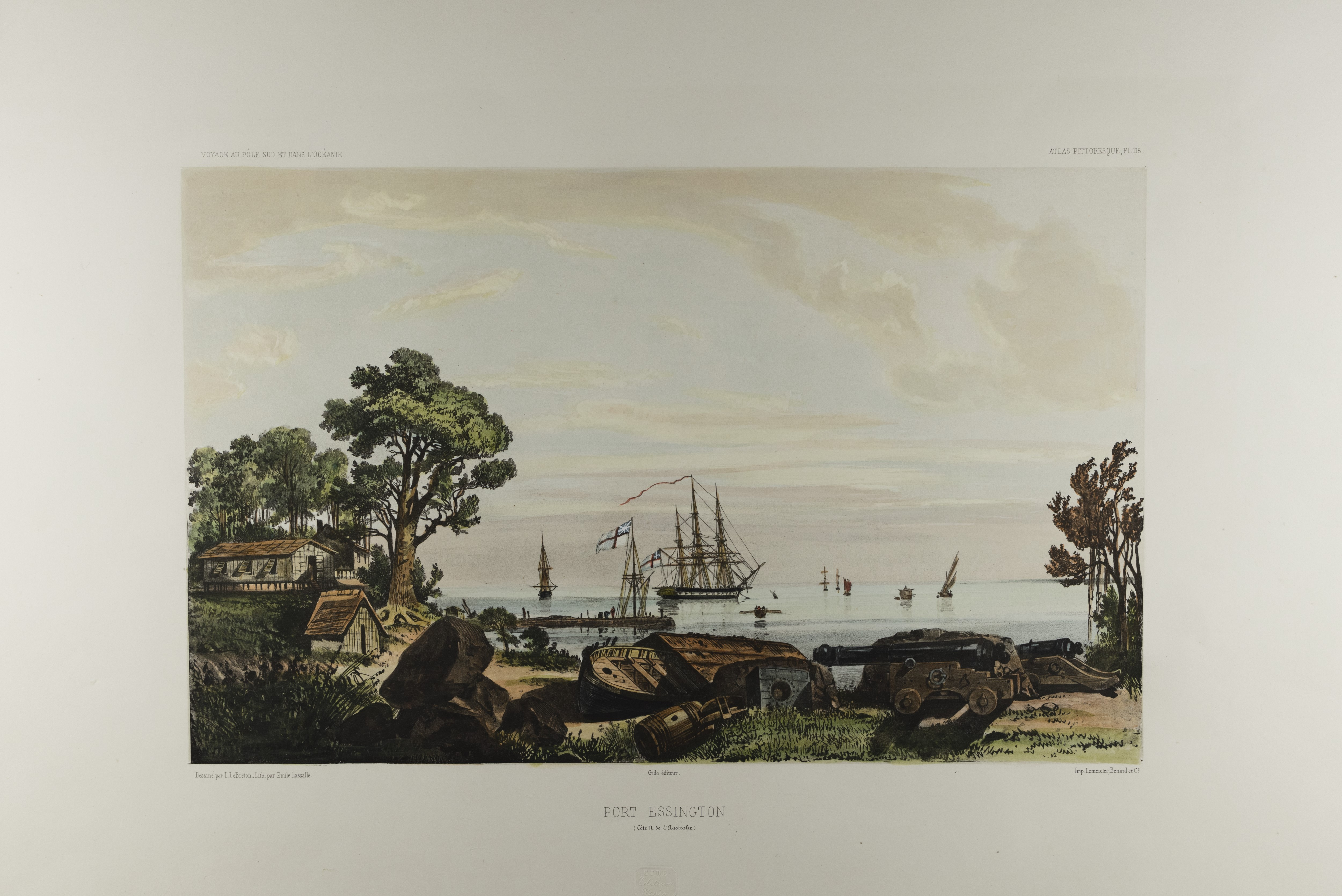 Hand-coloured print depicts a view over the water, with several sailing vessels in the background and in the foreground on shore cannons, barrels, a barge and buildings at left.