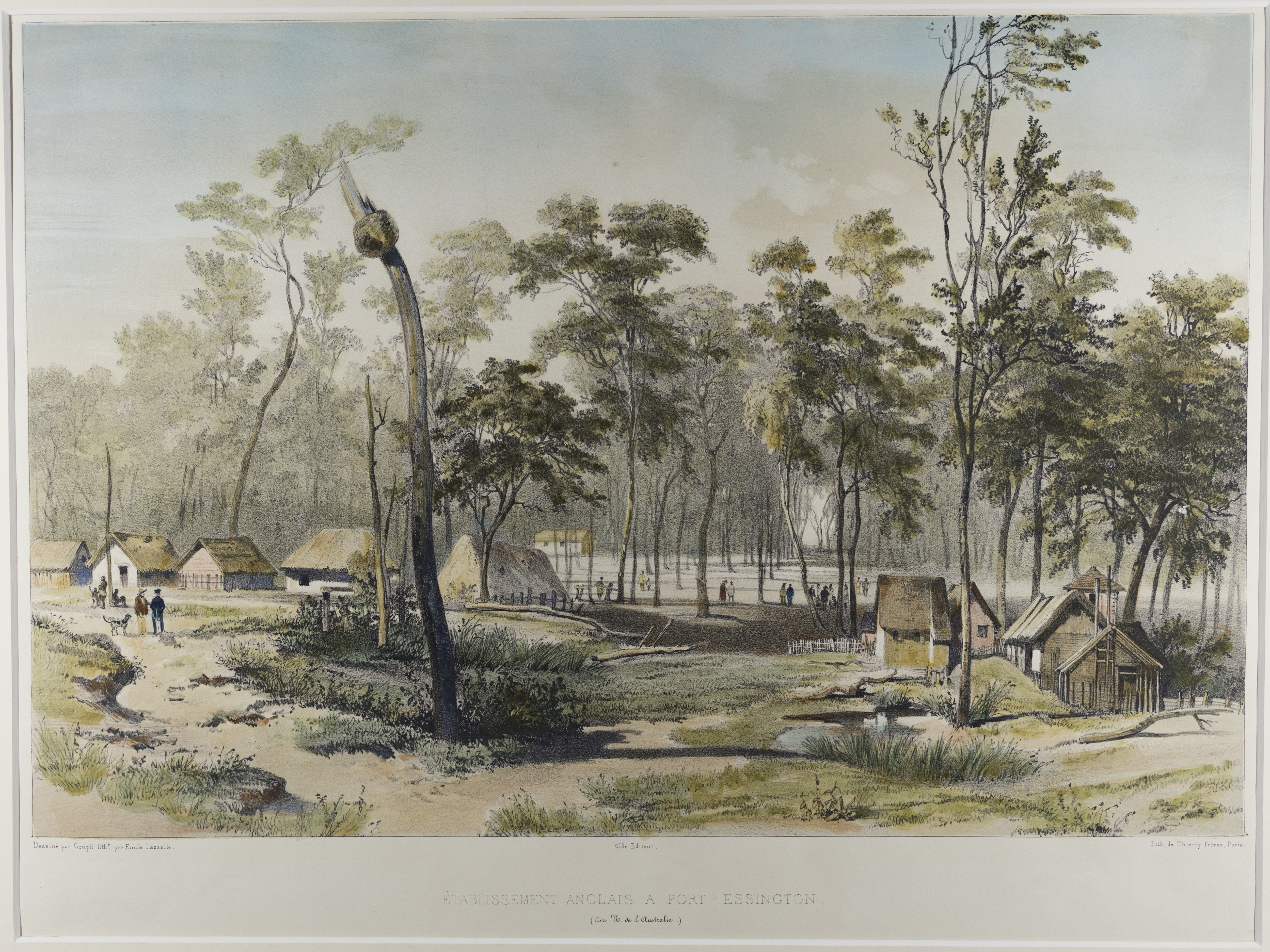 Coloured print depicting a number of thatched buildings in a lightly wooded area.