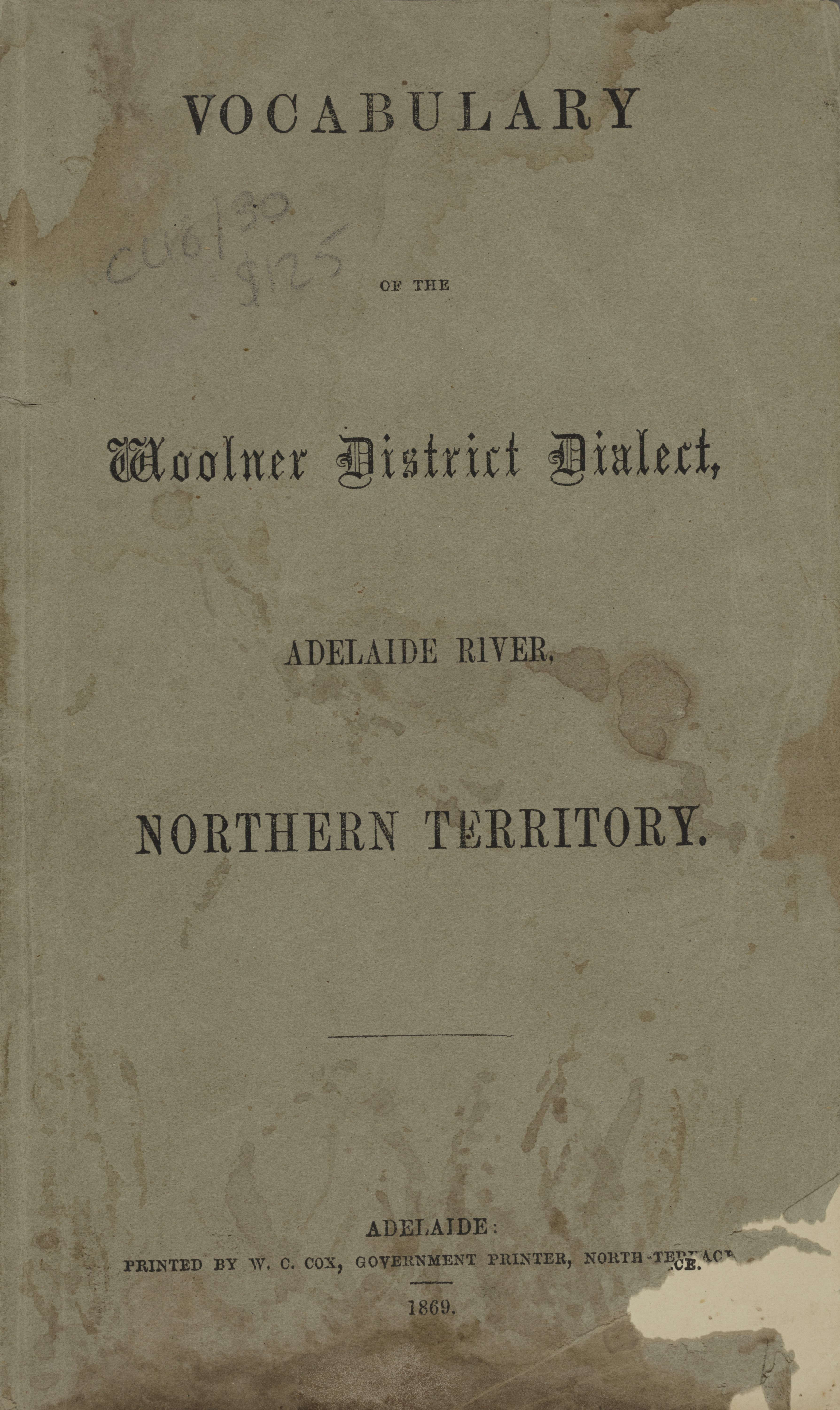 Water-stained front cover of Vocabulary of the Woolner District Dialect, published 1869.