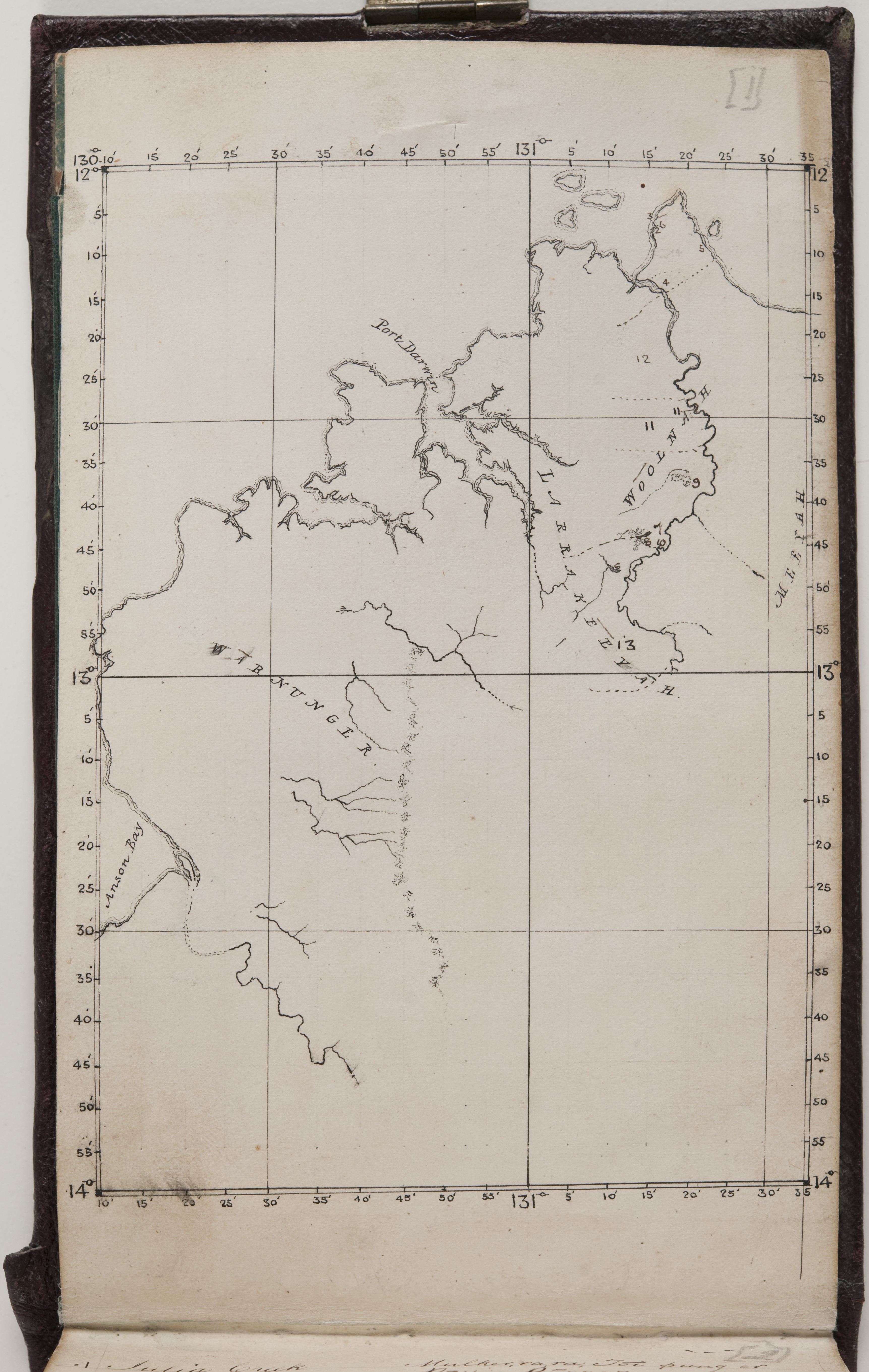 Hand-drawn map shows the coastline from Anson Bay to Port Darwin and the Adelaide River.