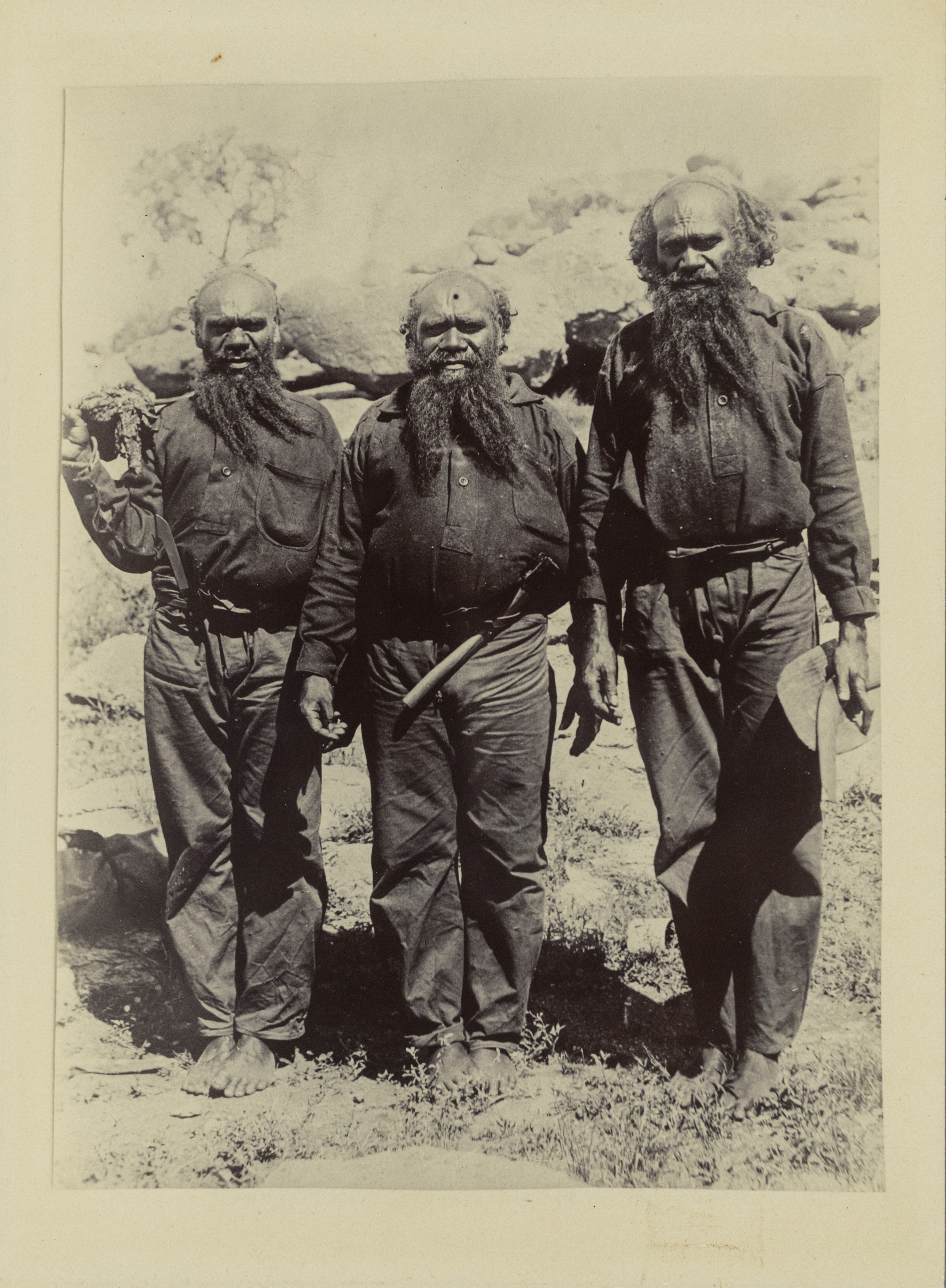 Depicts three older Aboriginal men.